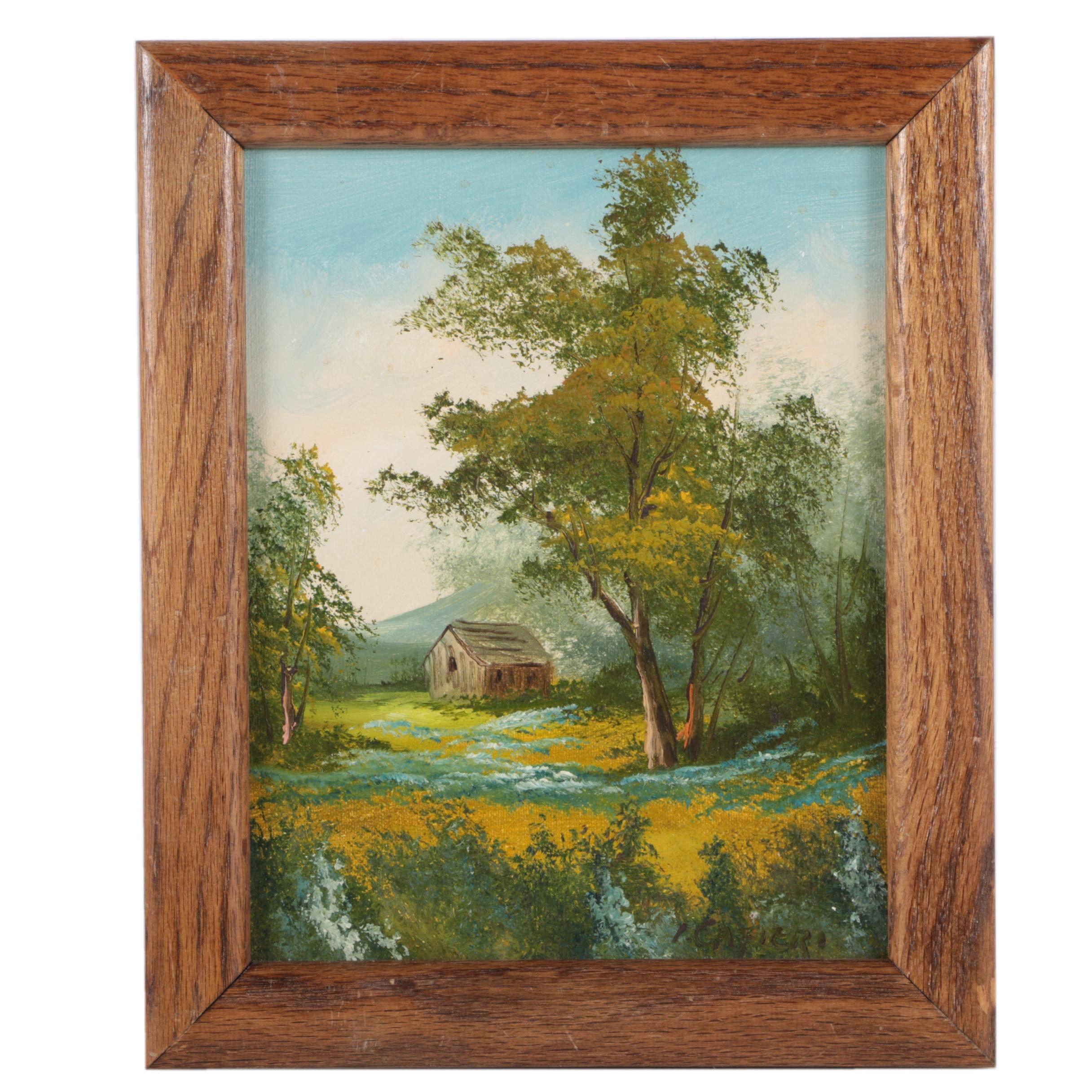 I. Cafieri Oil Painting on Canvas Landscape