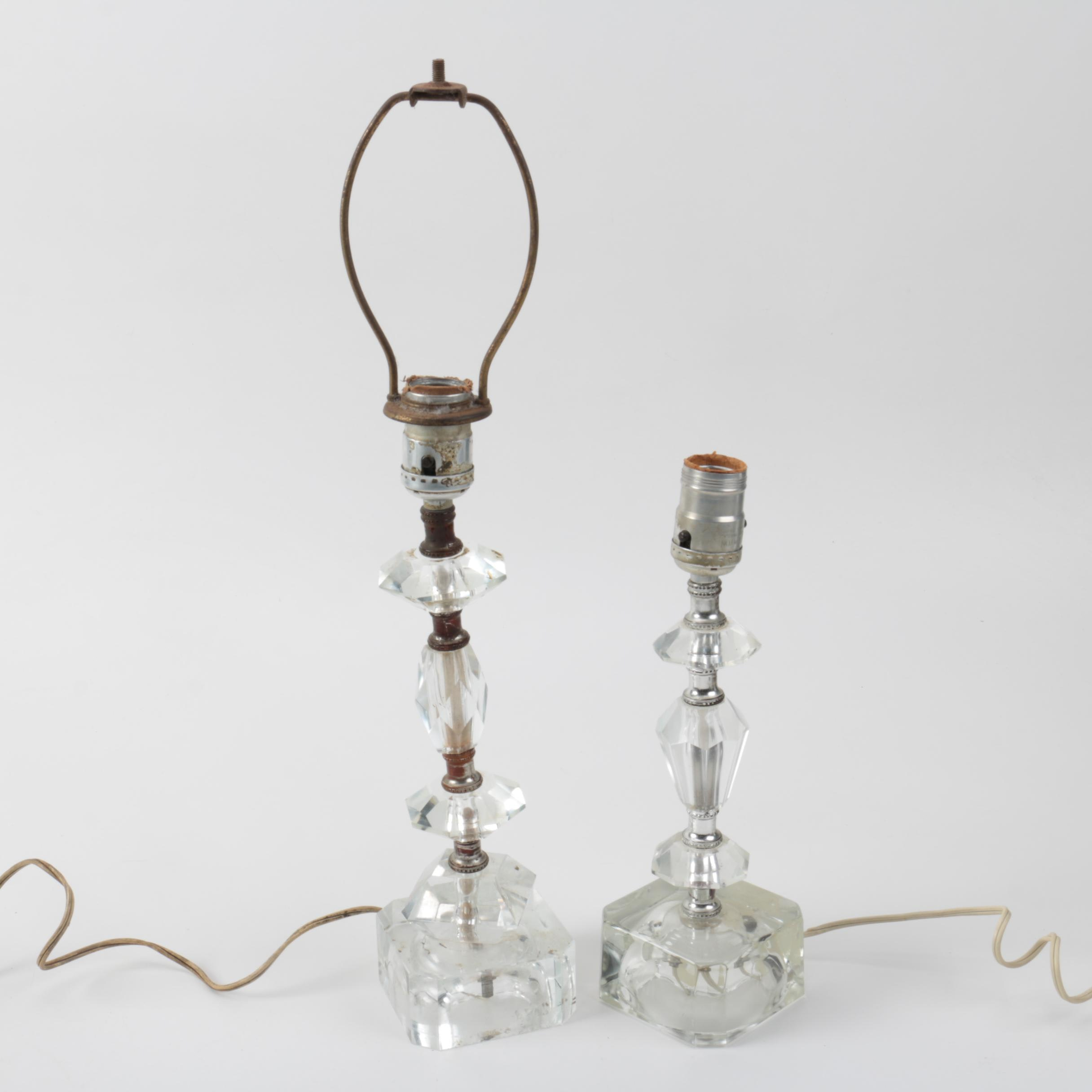 Pair of Table Lamps of Faceted Glass