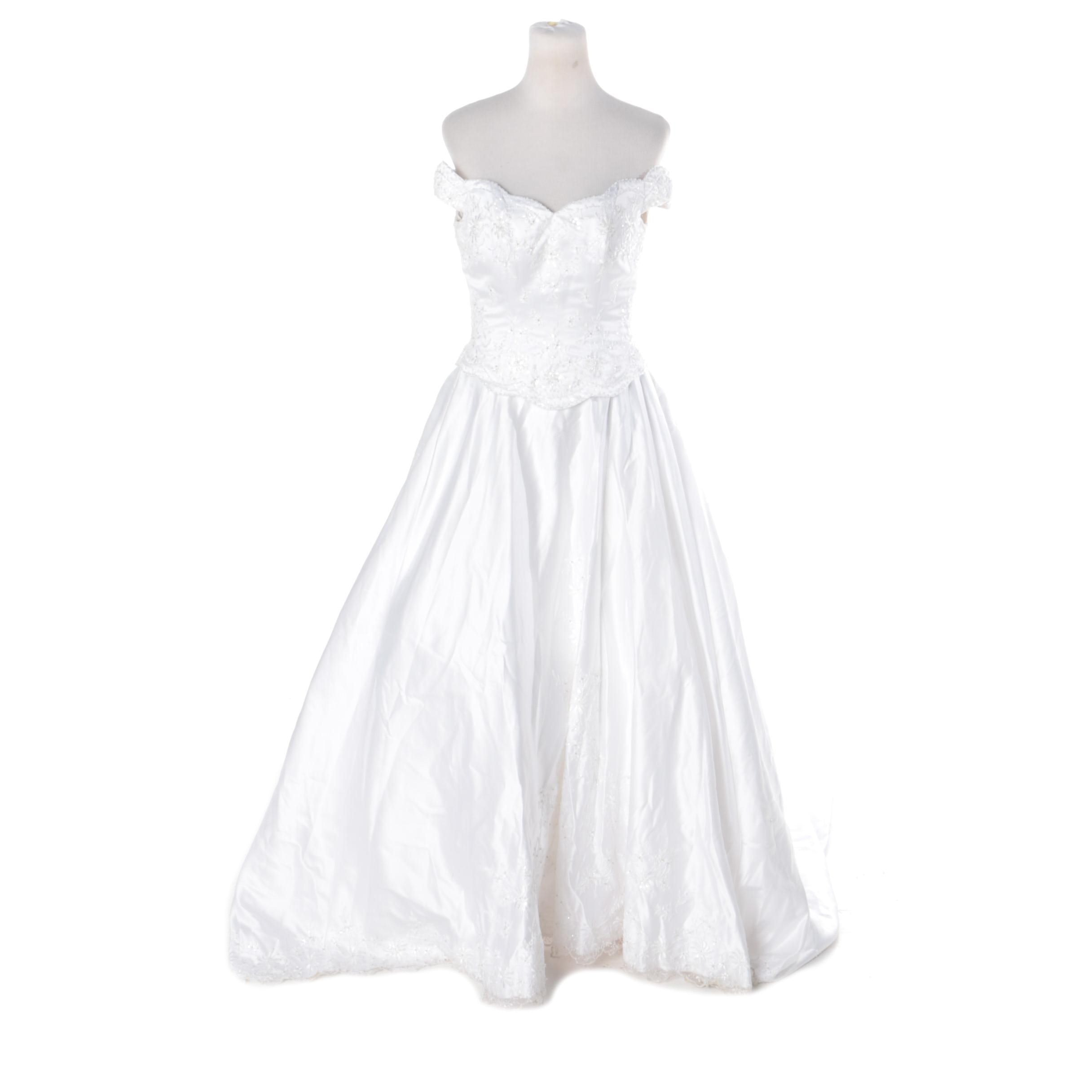 Alfred Angelo White Satin Wedding Gown