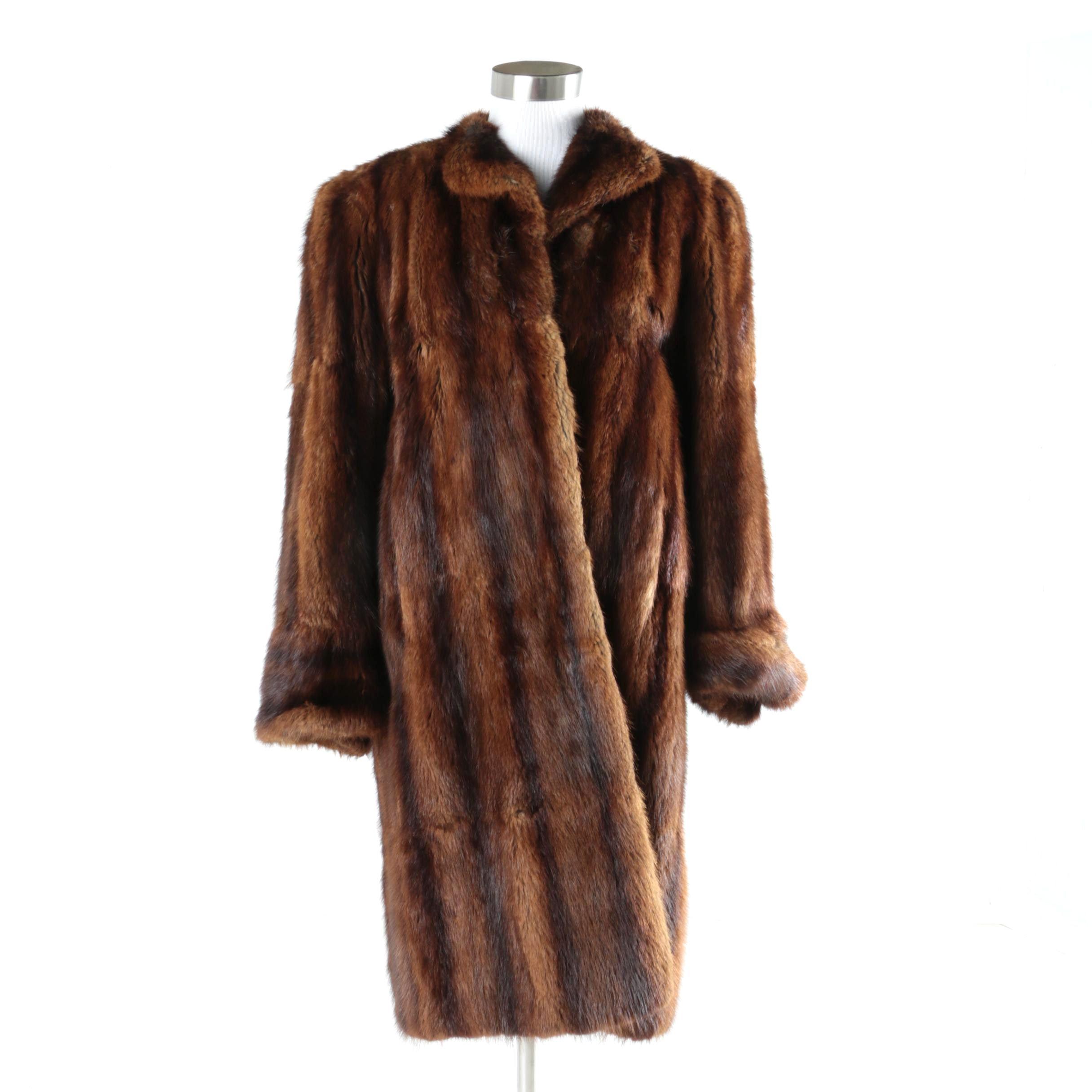Vintage Dyed Muskrat Fur Coat