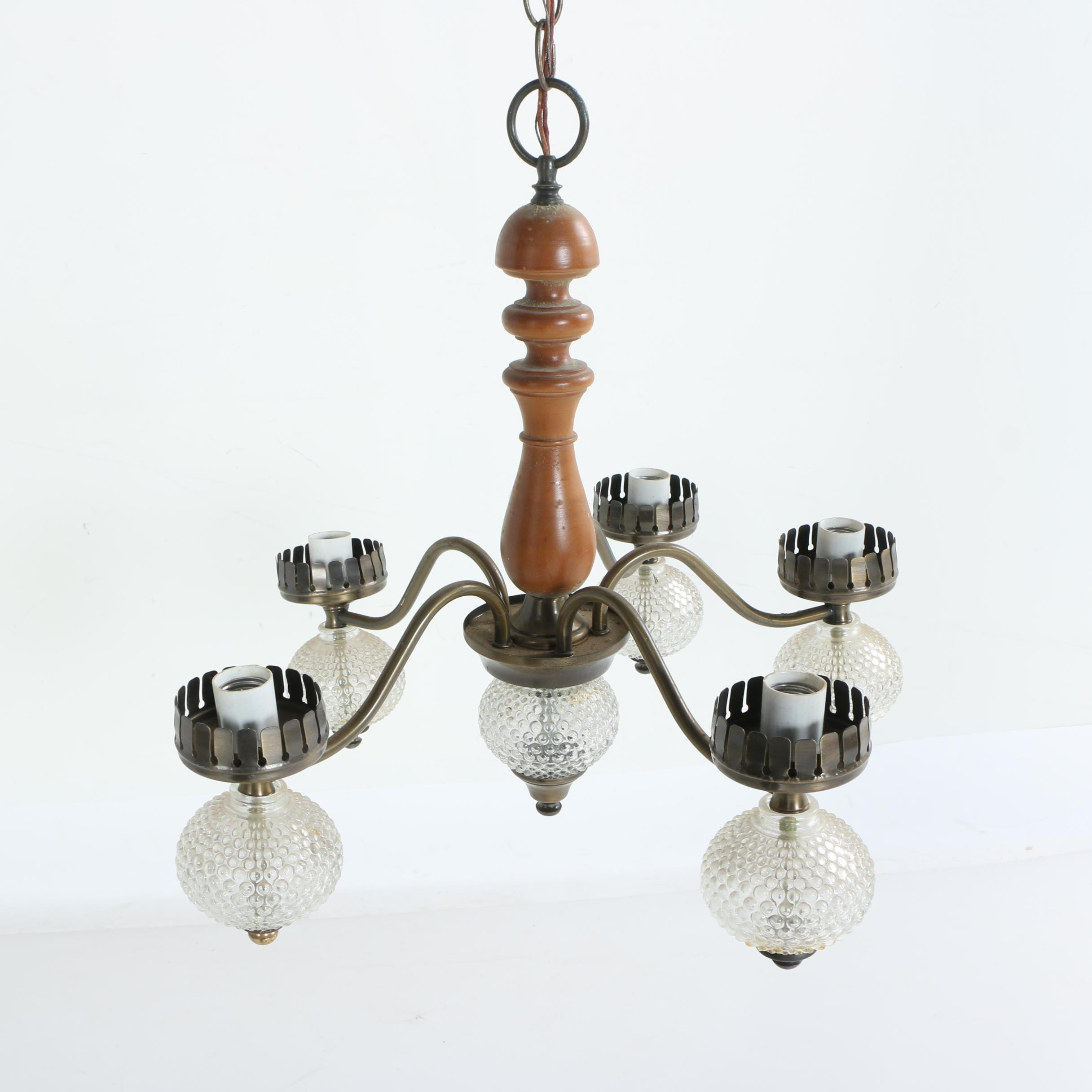 Vintage Turned Wood Chandelier