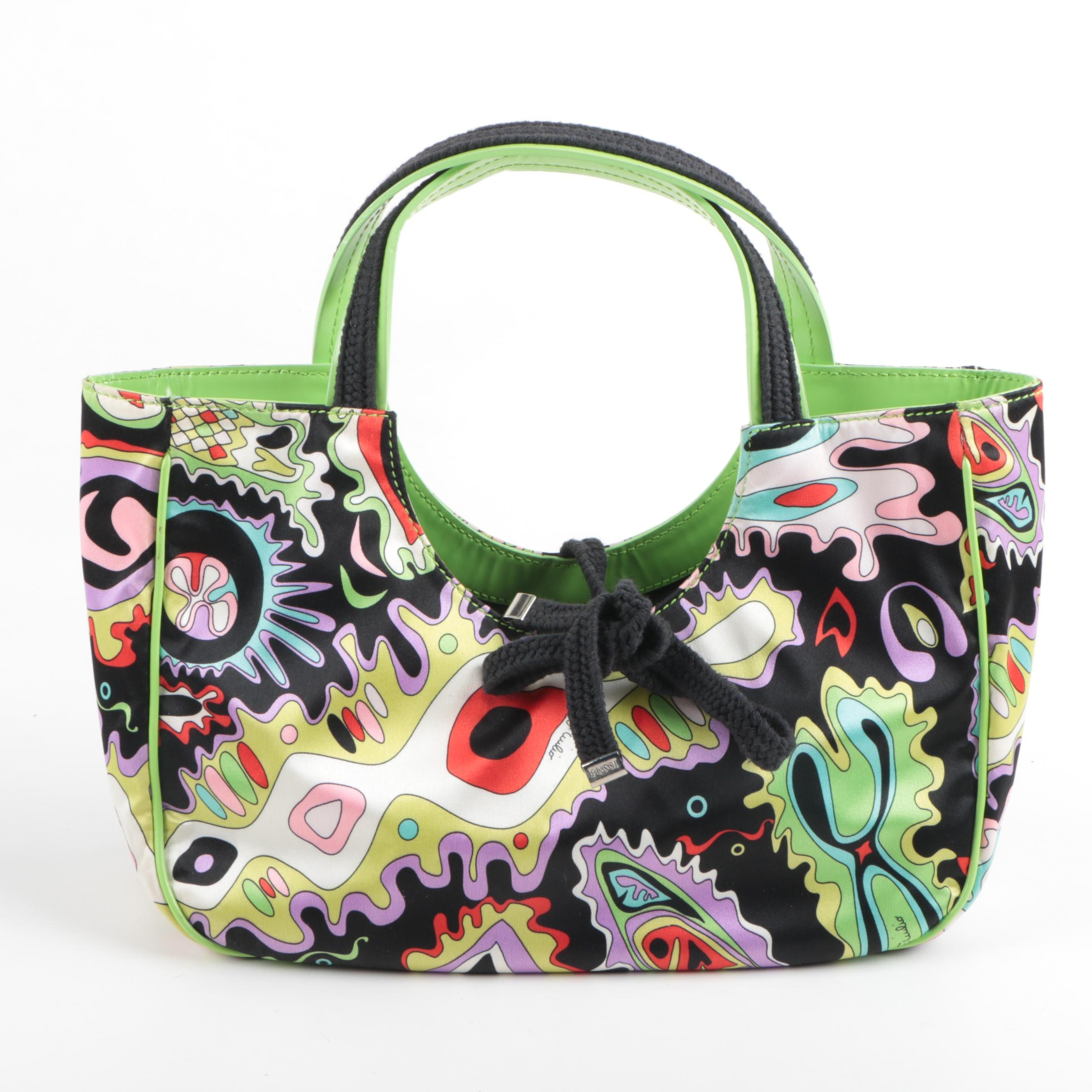 Emilio Pucci Patterned Nylon Shopper Handbag