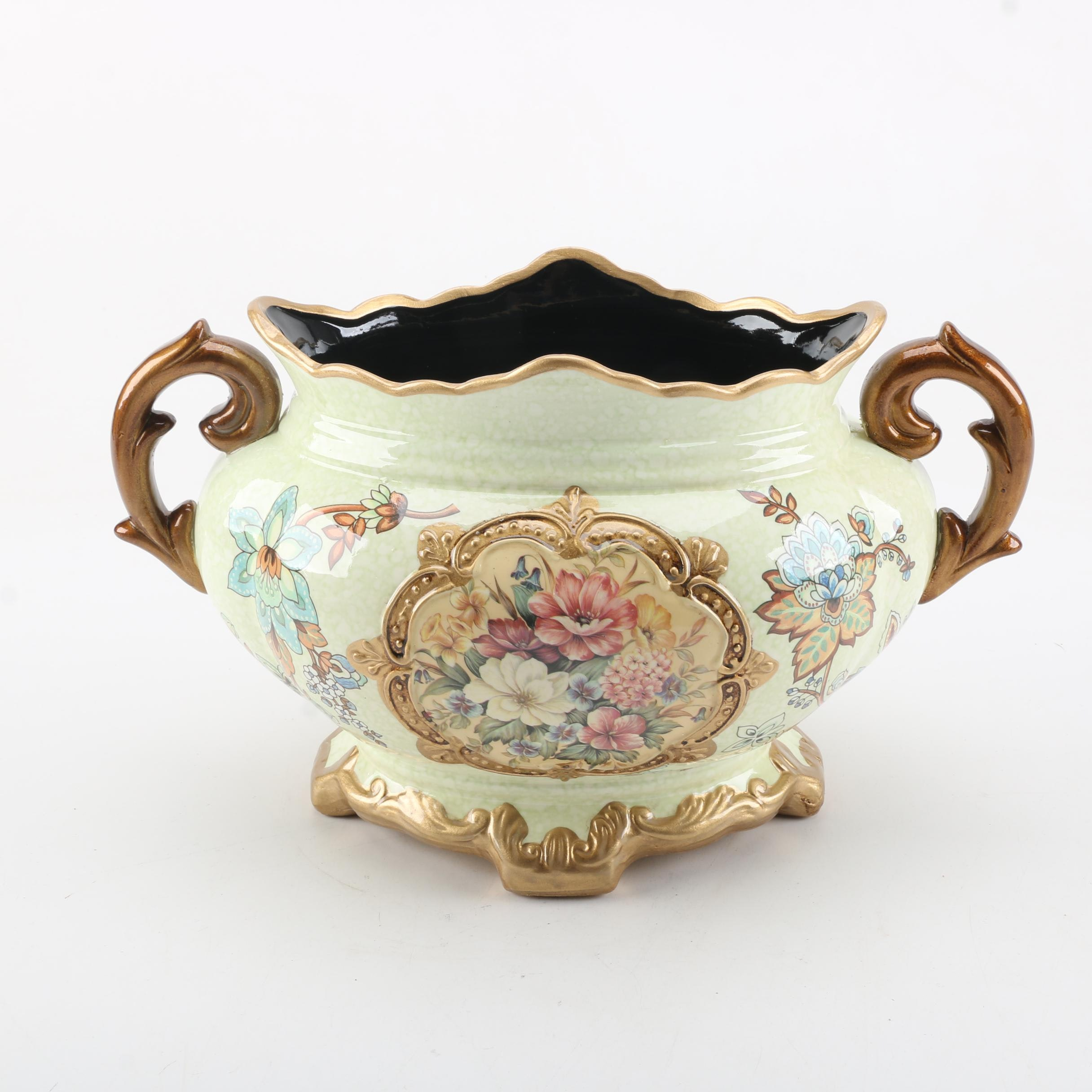 Decorative Ornate Hand Painted Ceramic Jardiniere