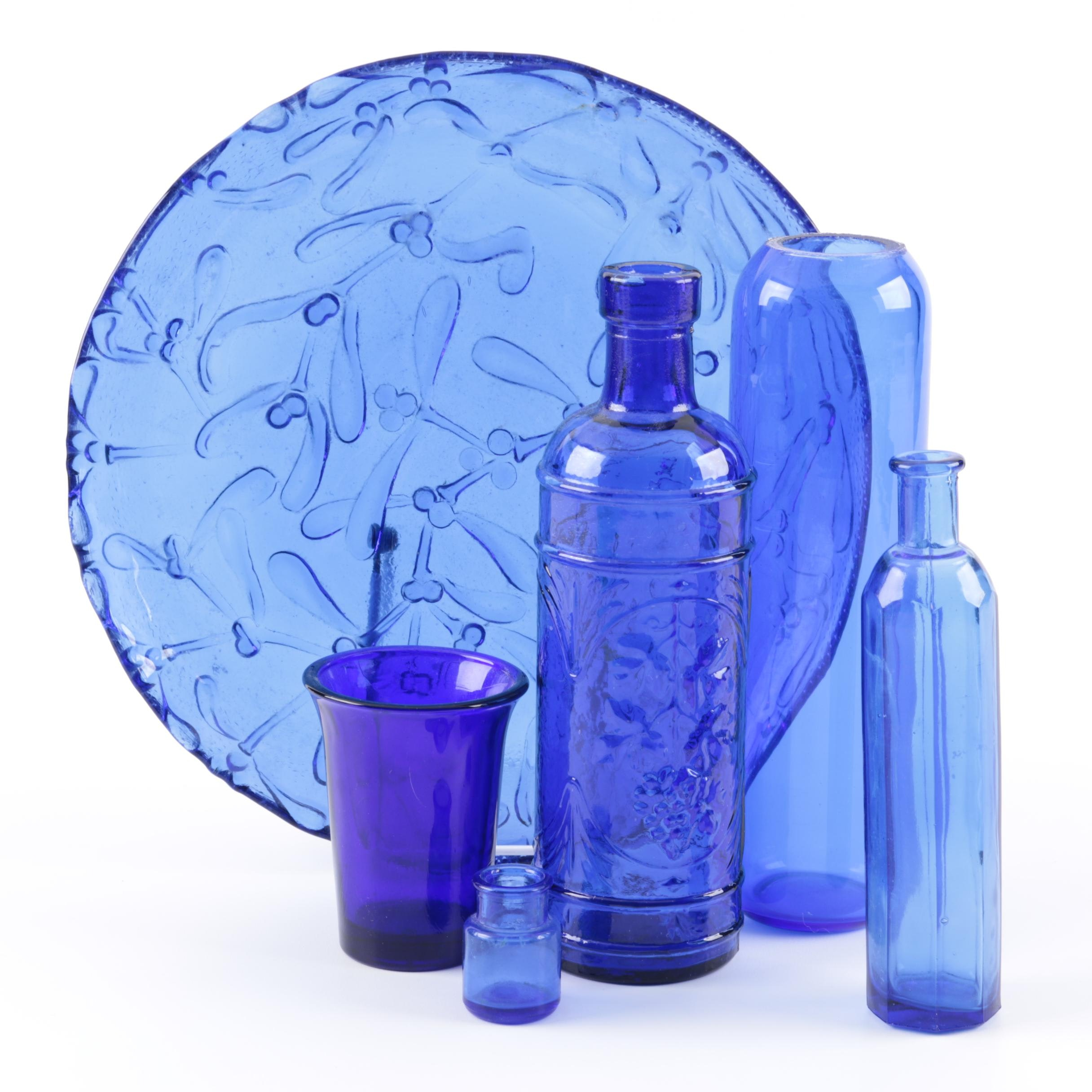 Blue Glass Bottles and Plate
