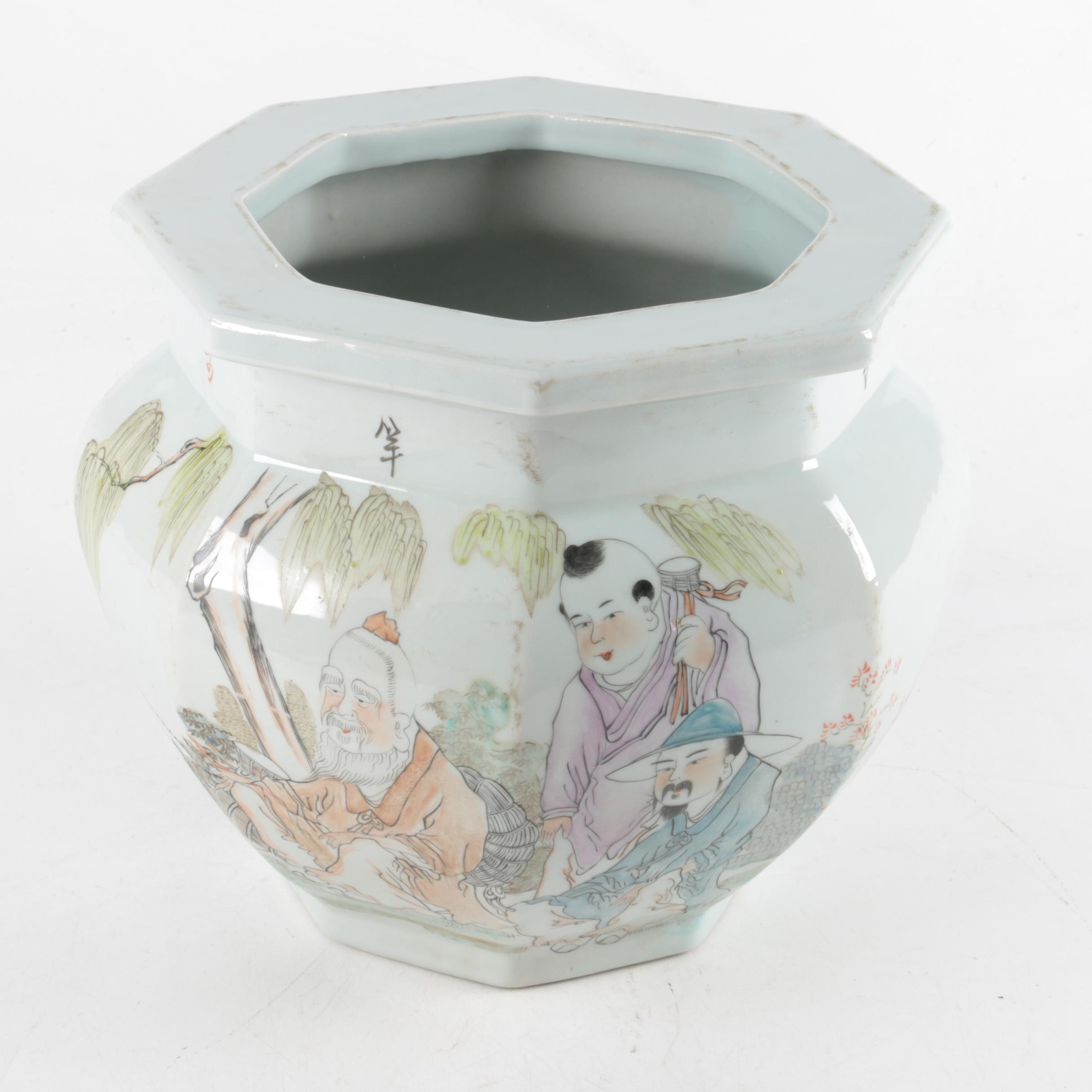Vintage Chinese Hand-Decorated White Porcelain Octagonal Shape Planter