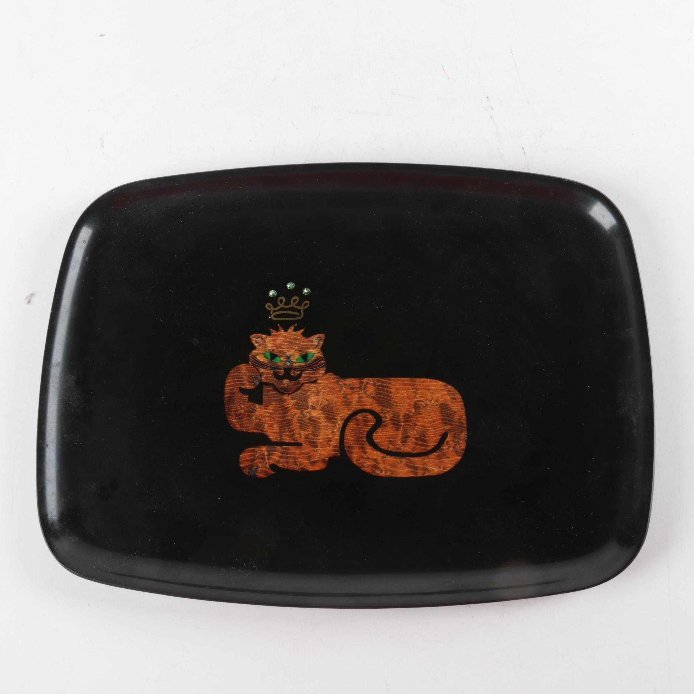 Vintage Couroc Crowned Cat Tray