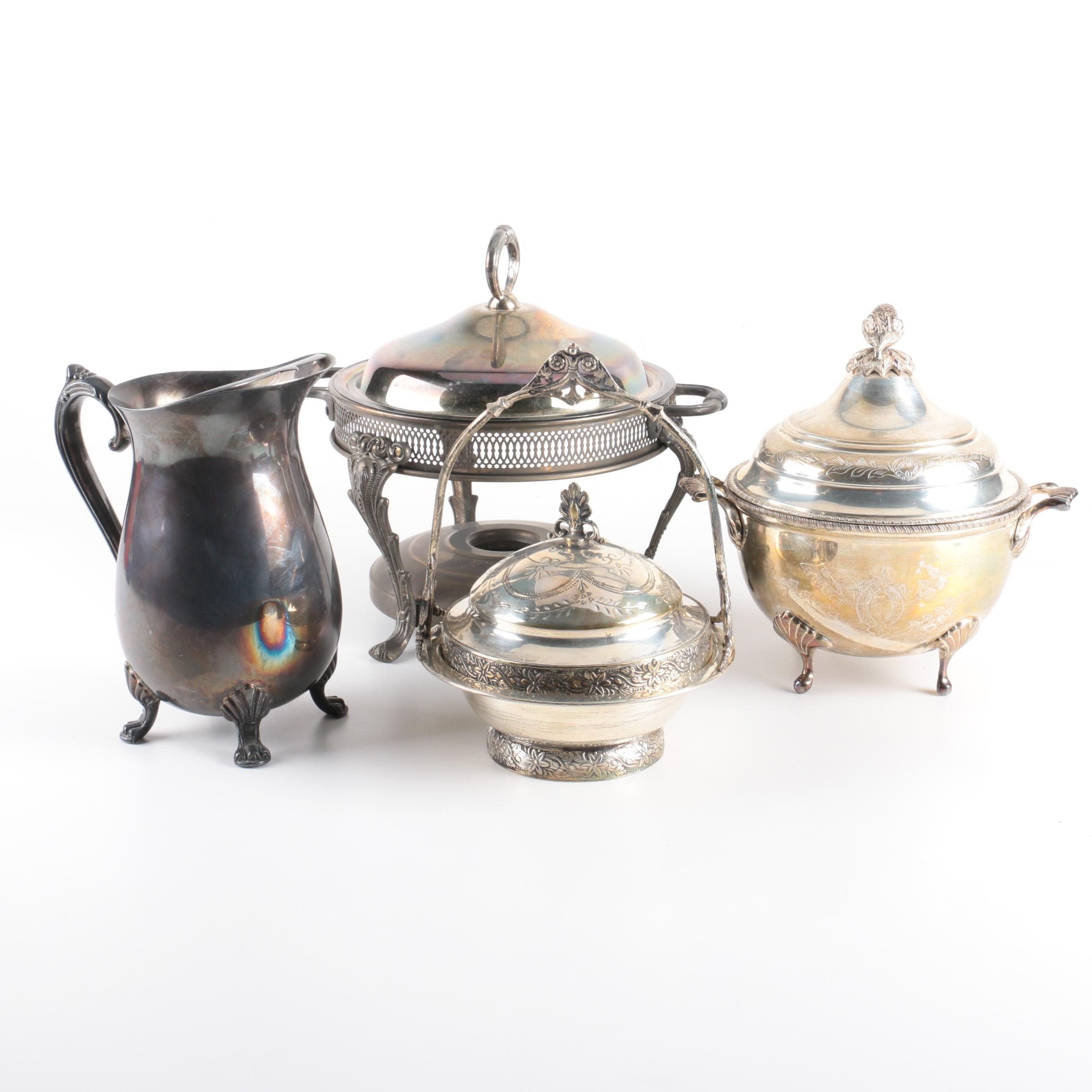 Silver Plate Water Pitcher, Chafing Stand and Footed Serving Dishes