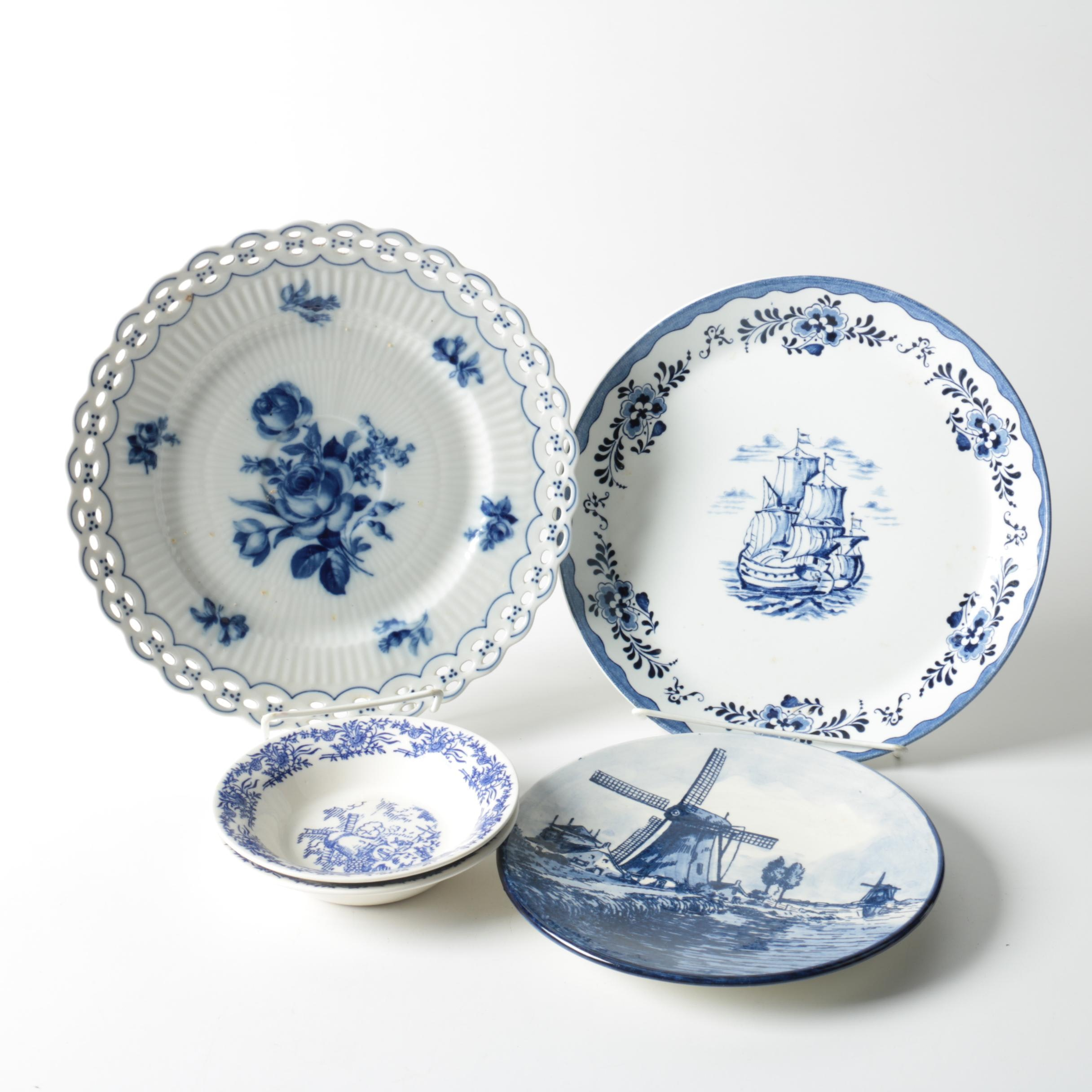 Delft Style Tableware Including Johnson Brothers