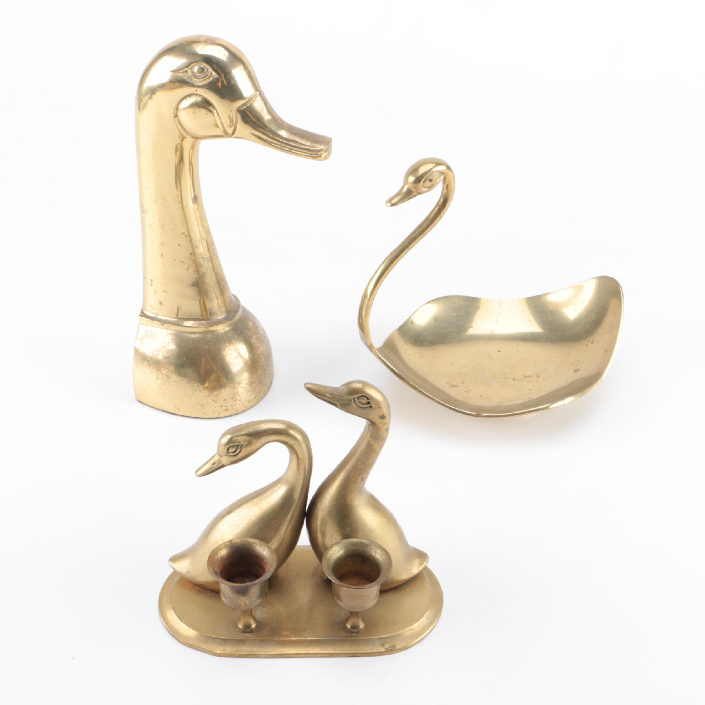 Brass Duck Themed Candle Holder, Dish and Bookend
