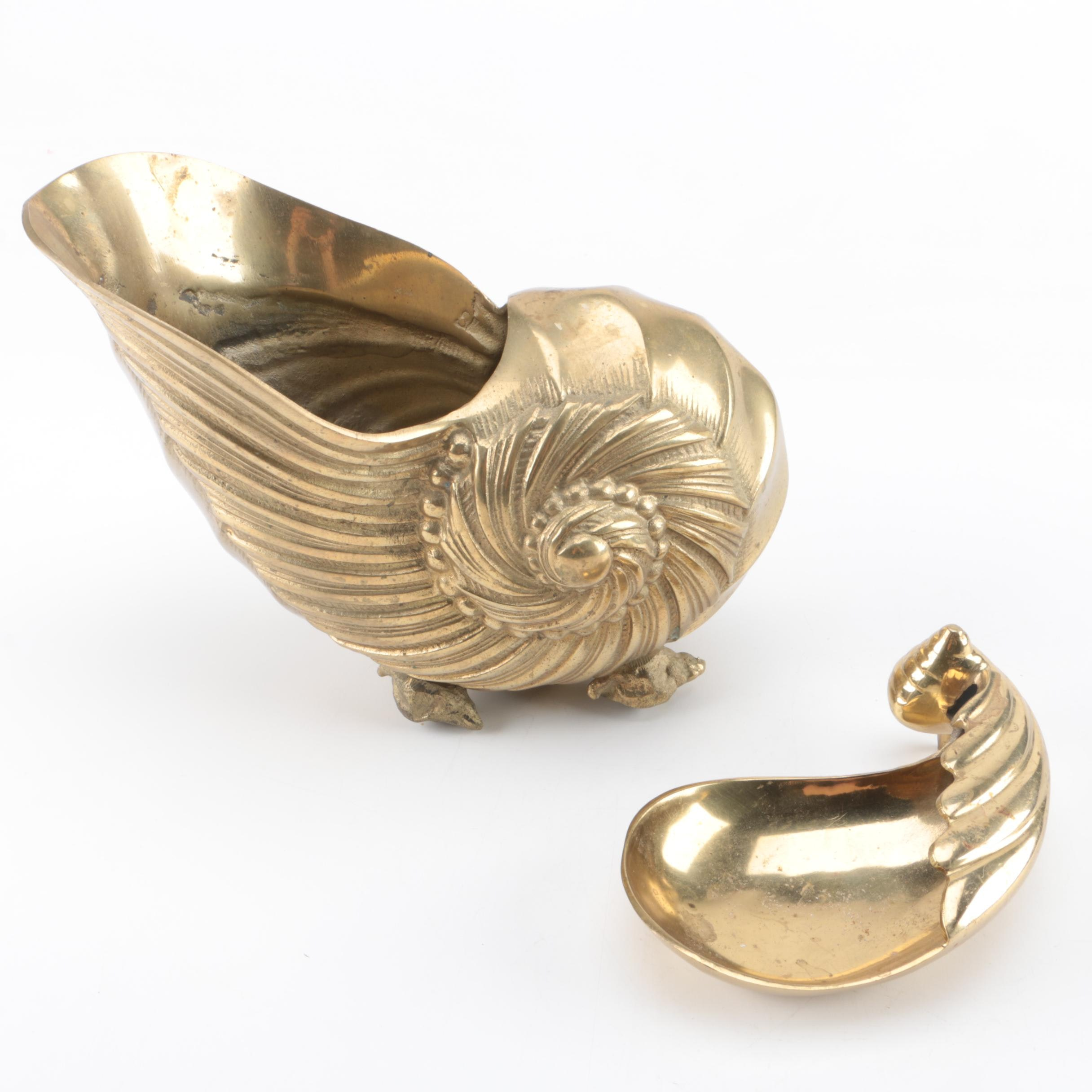 Gold Tone Metal Shell Motif Dishes