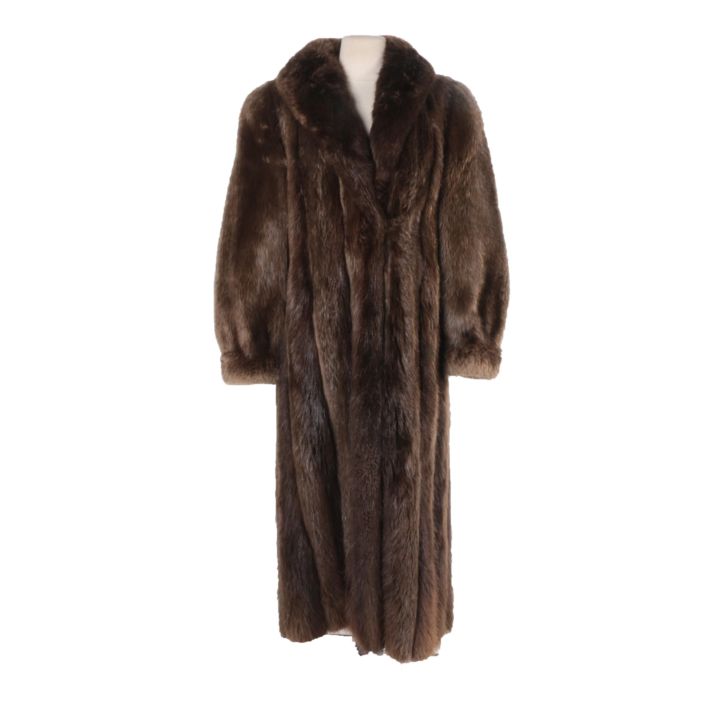 Vintage Full-Length Beaver Fur Coat