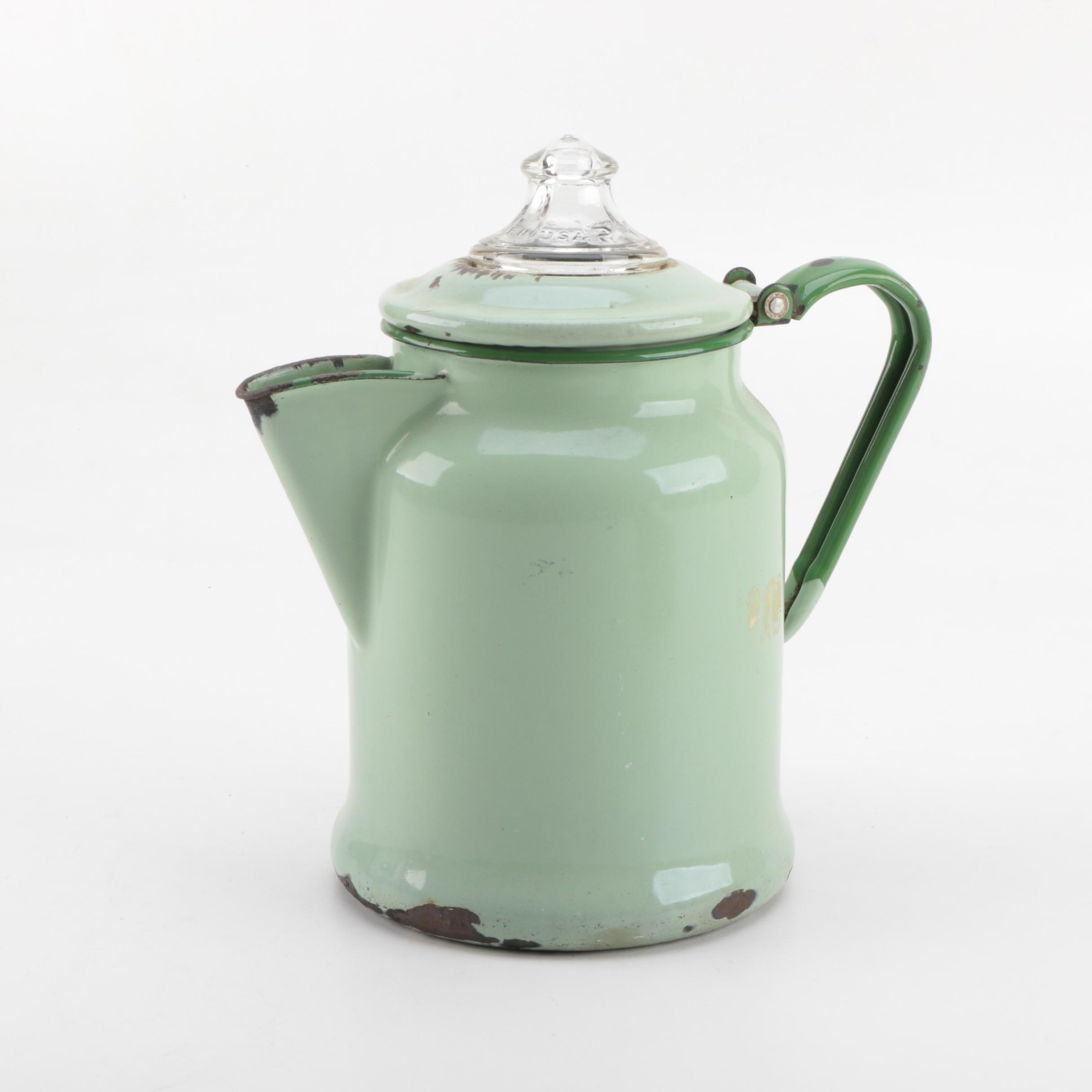 Vintage American Enamel Metal Coffee Pot