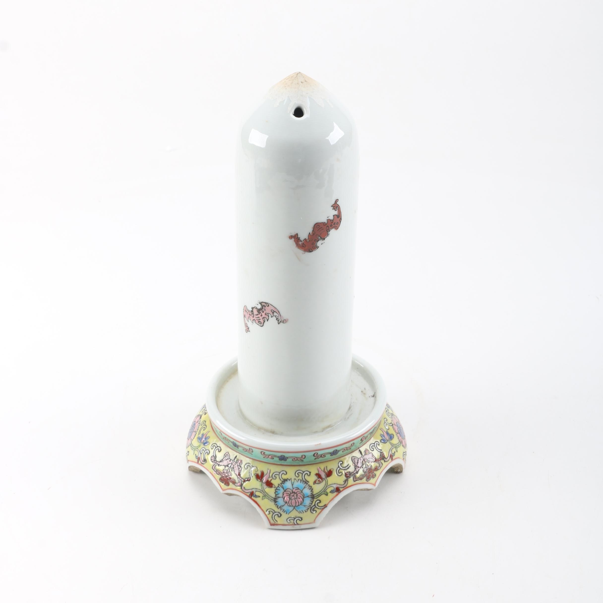 Chinese White Ceramic Oil Heater with Floral Motif Ceramic Base