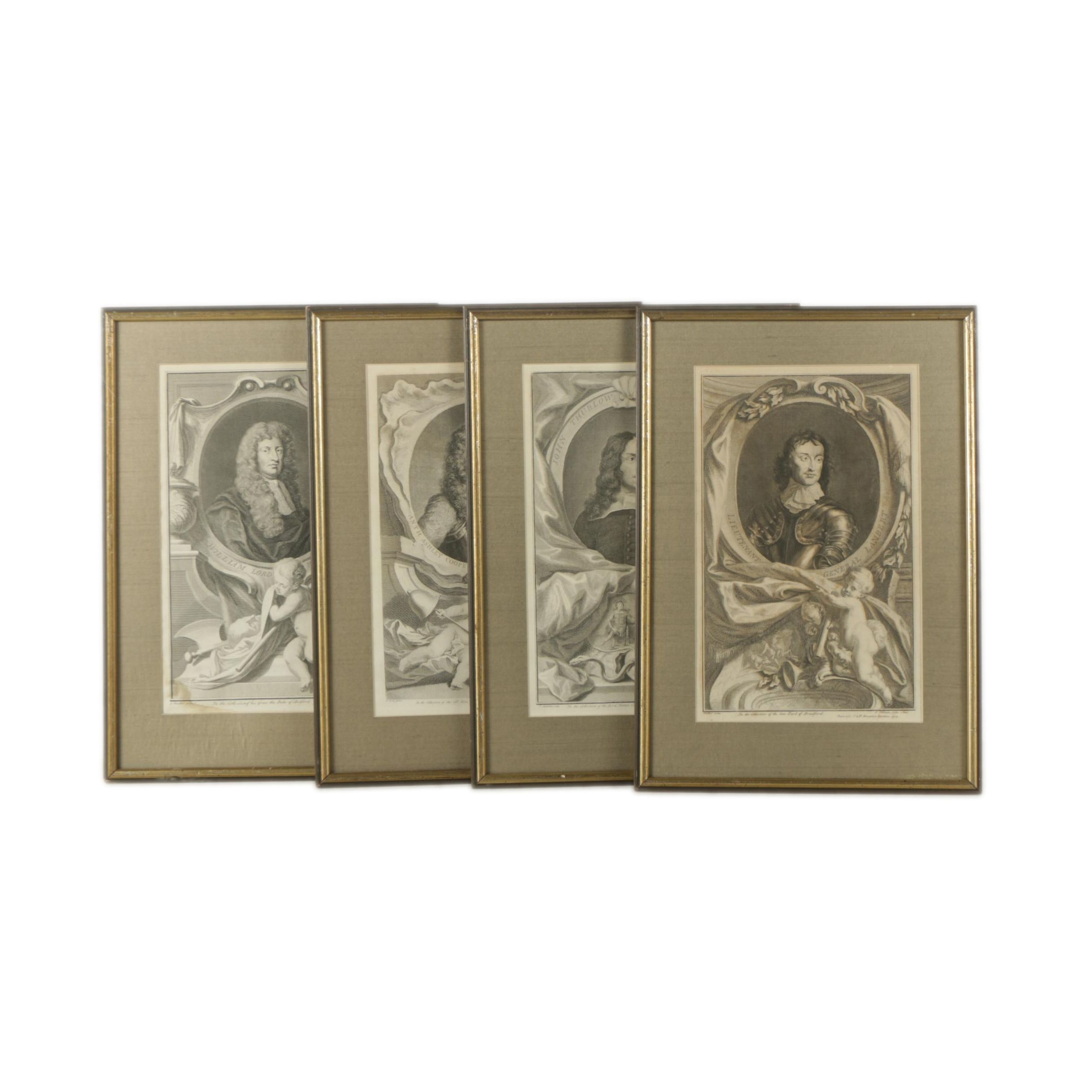 Antique Intaglio Prints of Notable 17th-Century Figures After Jacobus Houbraken