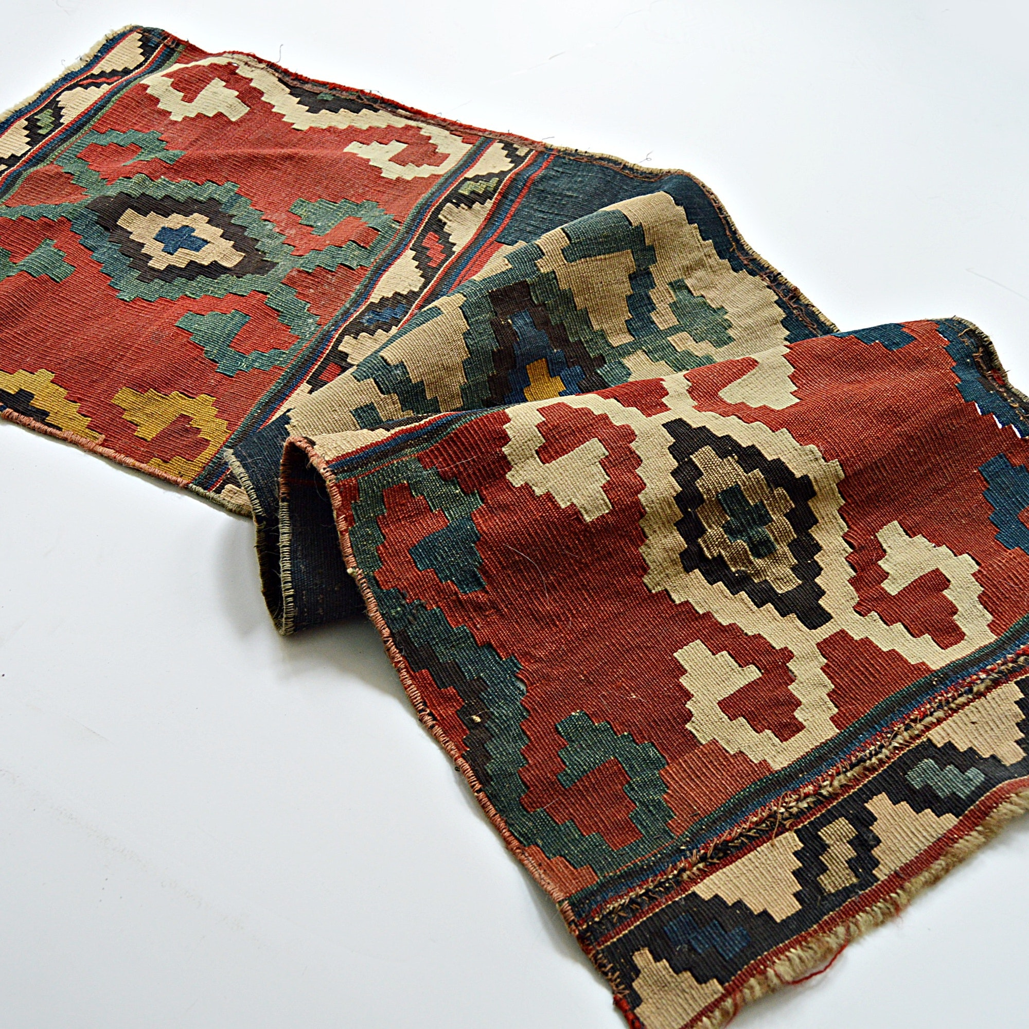 Vintage to Semi-Antique Hand-Knotted Anatolian Wool Kilim Rug