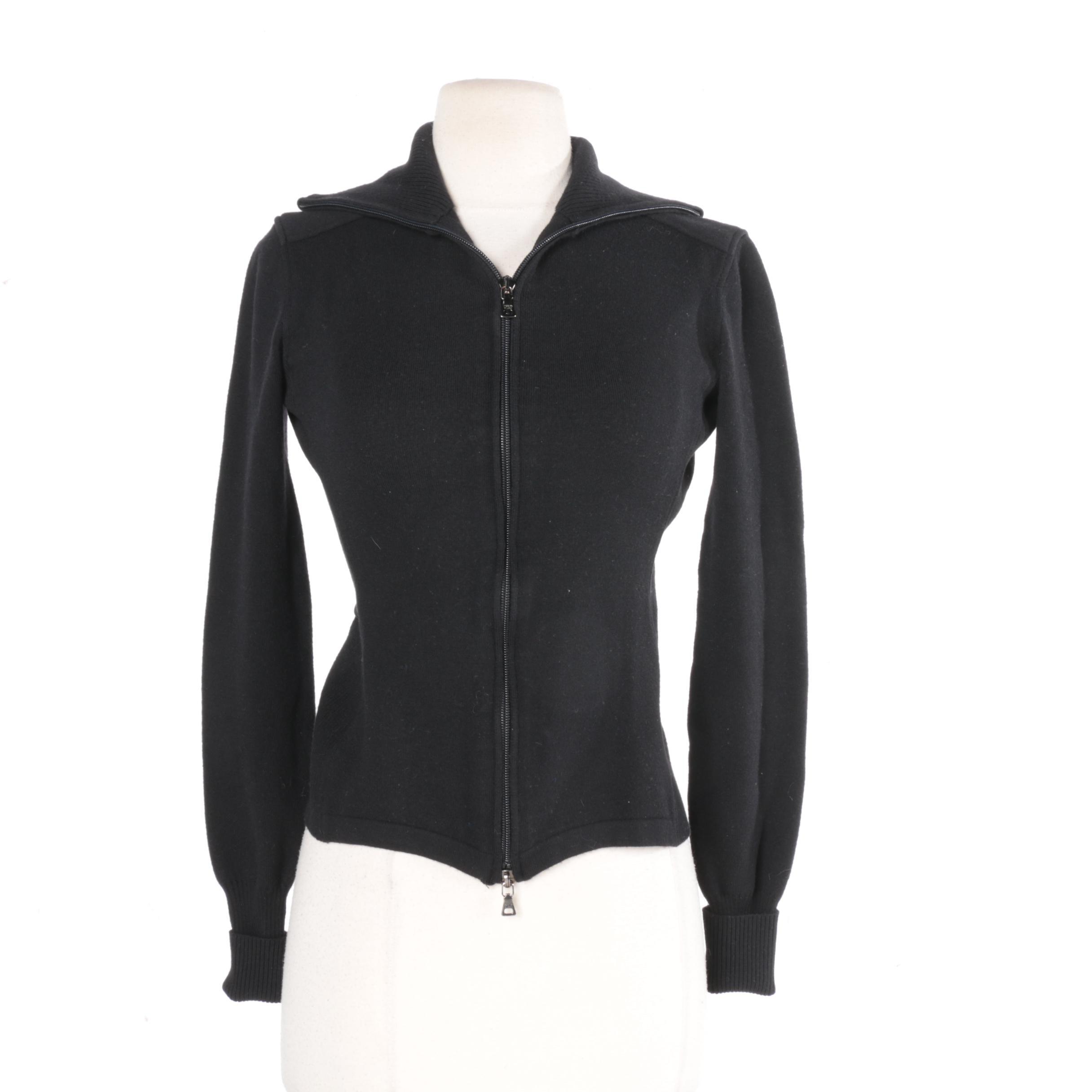Women's Prada Black Wool Zipper Front Jacket