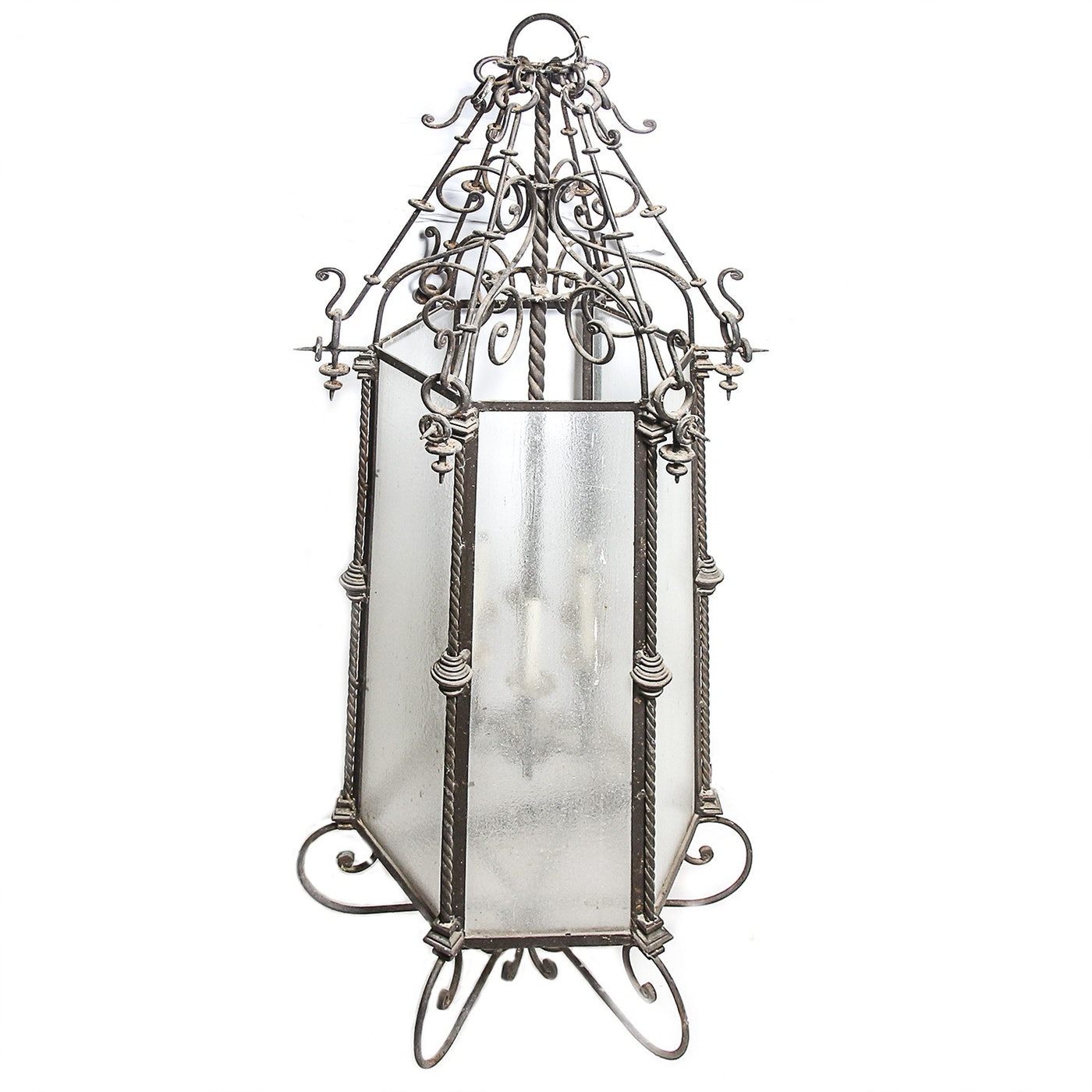 Wrought Iron Chandelier with Hexagonal Glass Shade