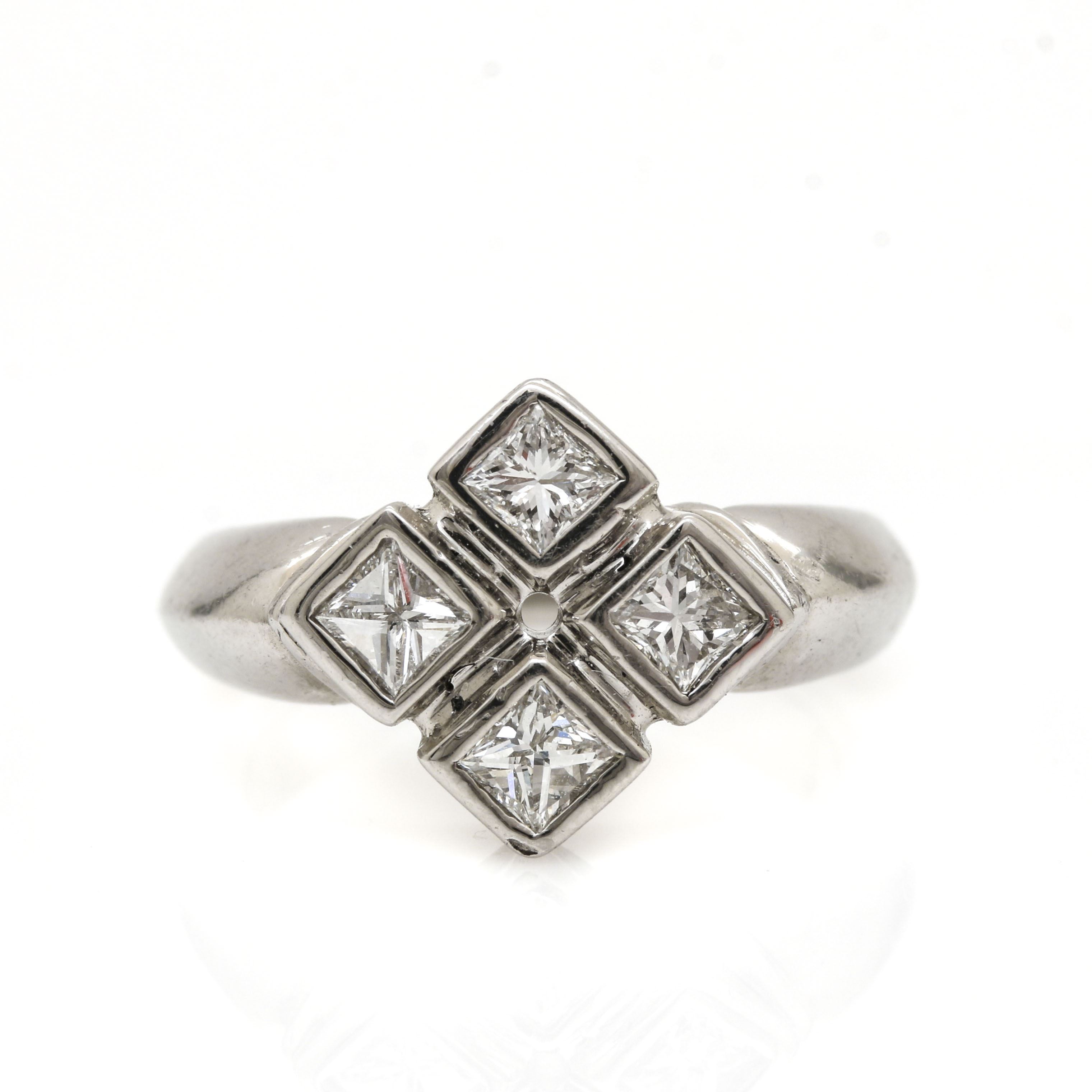 Platinum Four Stone Princess Cut Diamond Ring