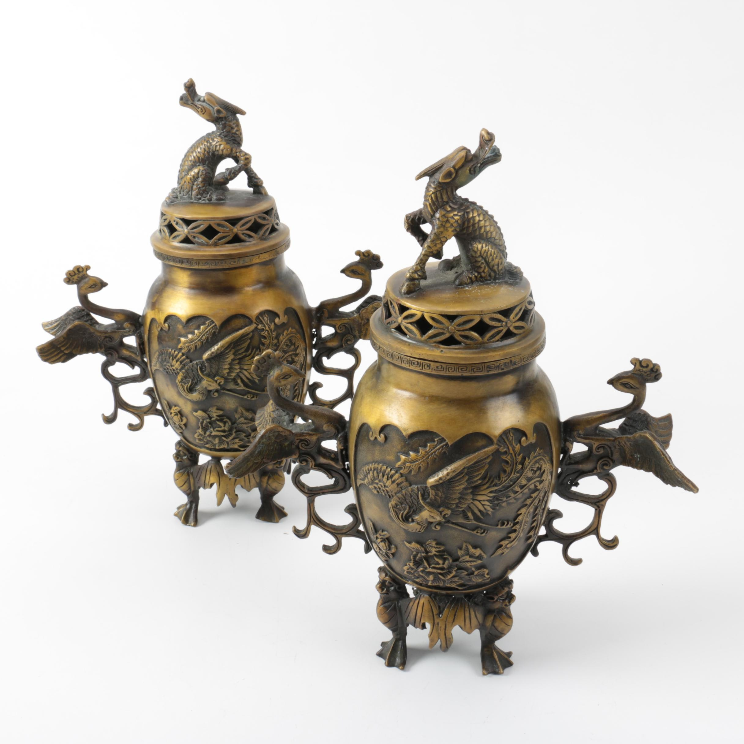 Pair of Chinese Bronze Censers in a Dragon and Phoenix Motif