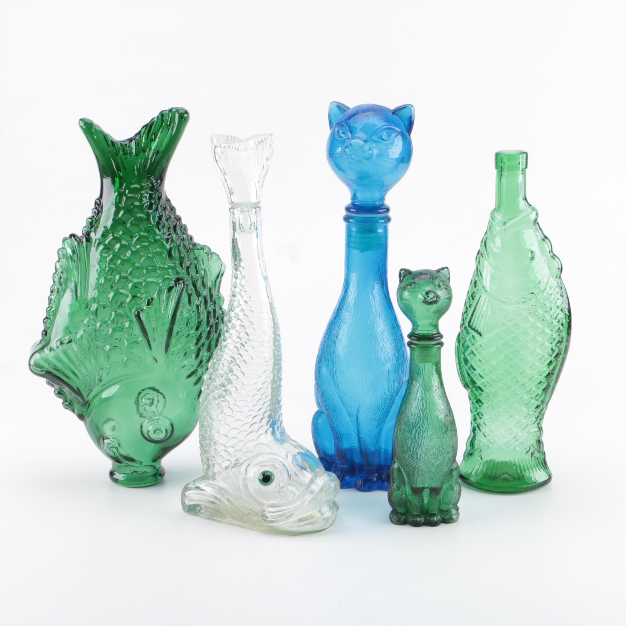 Molded Glass Fish and Cat Shaped Bottles