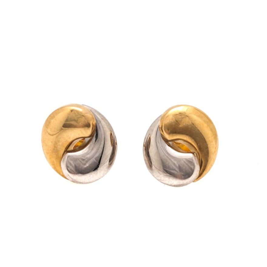20e2ade4b 18K Two Tone Gold Stud Earrings : EBTH