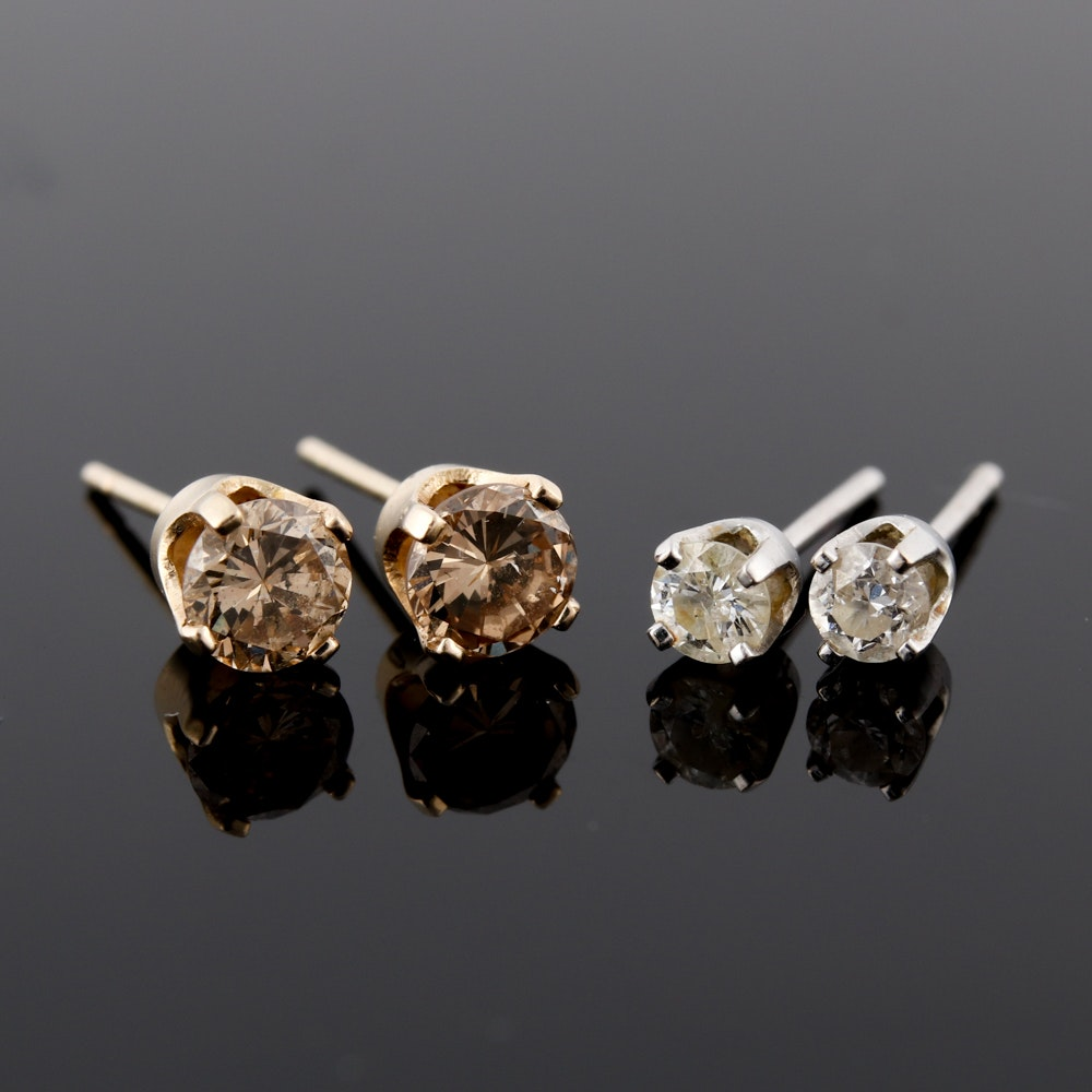 Two Pairs of 14K Gold Diamond Stud Earrings