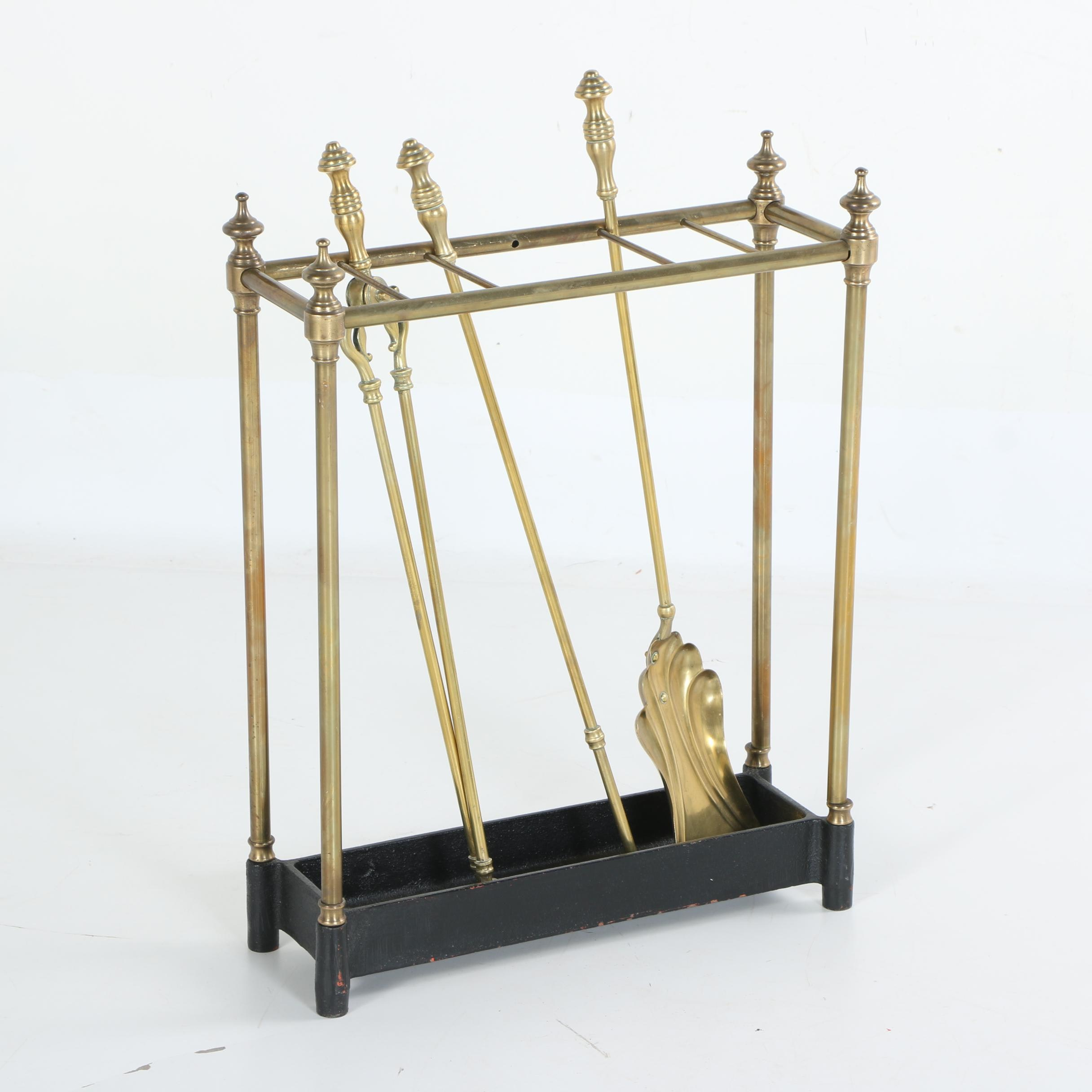 Vintage Brass Fireplace Tool Storage Rack with Tools