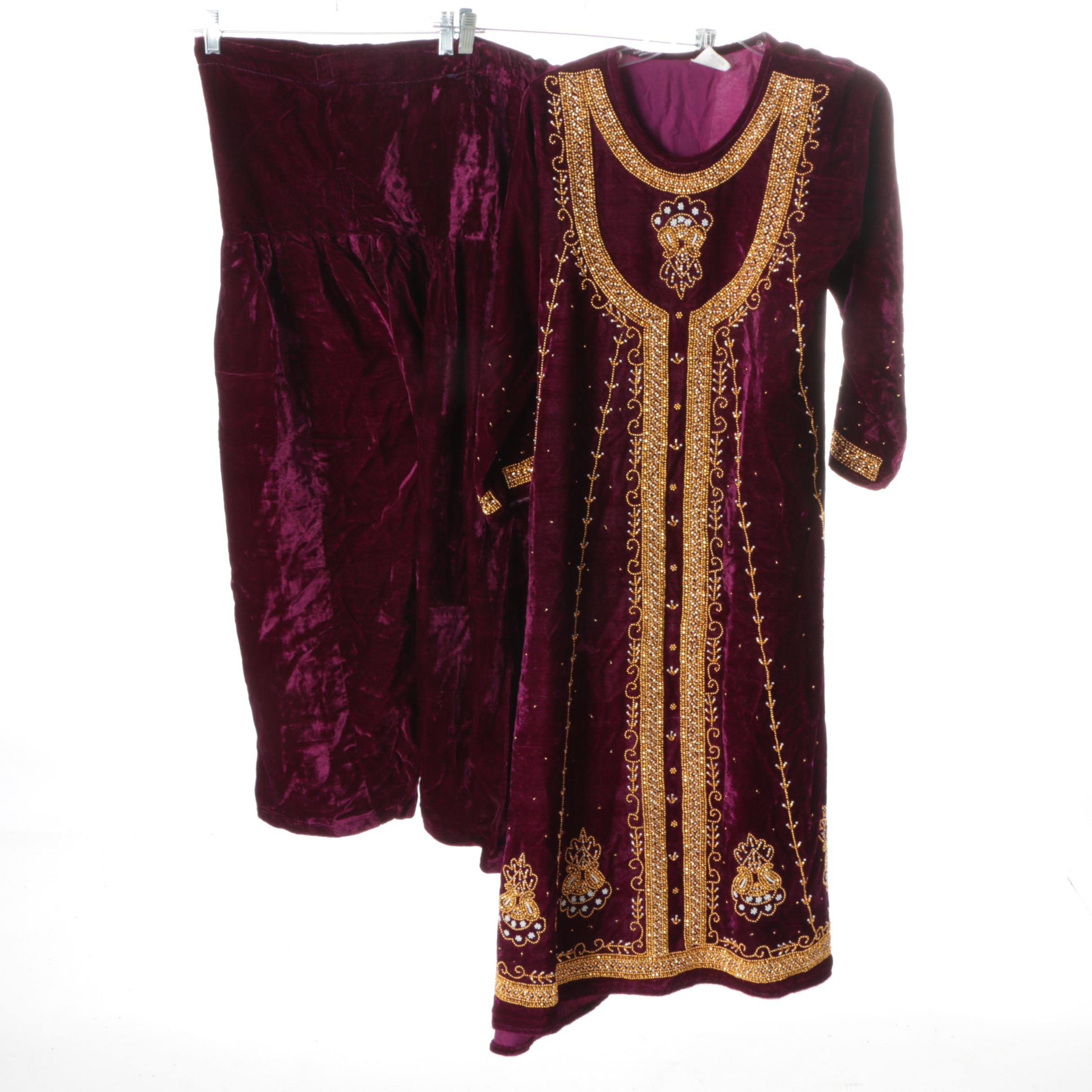 Women's South Asian Style Velvet Beaded Suit Set
