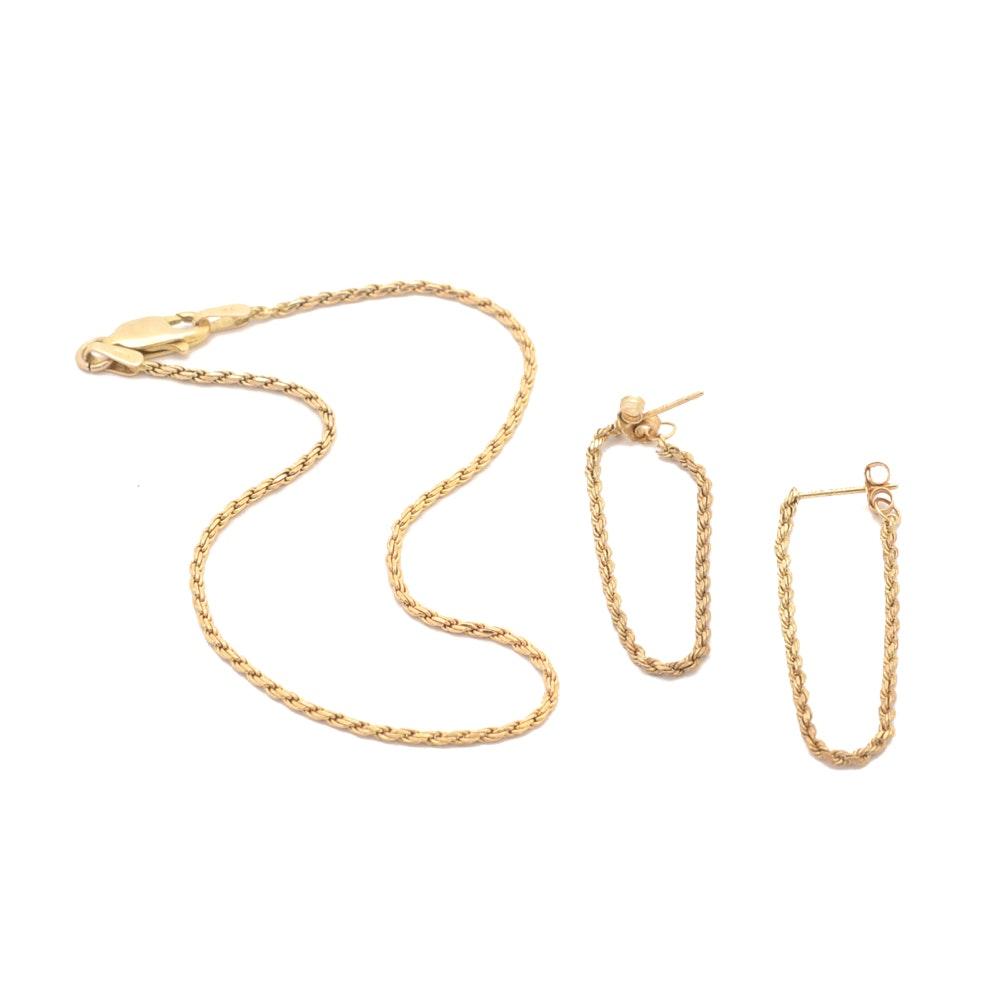 14K Gold Rope Chain Bracelet and Post Earrings