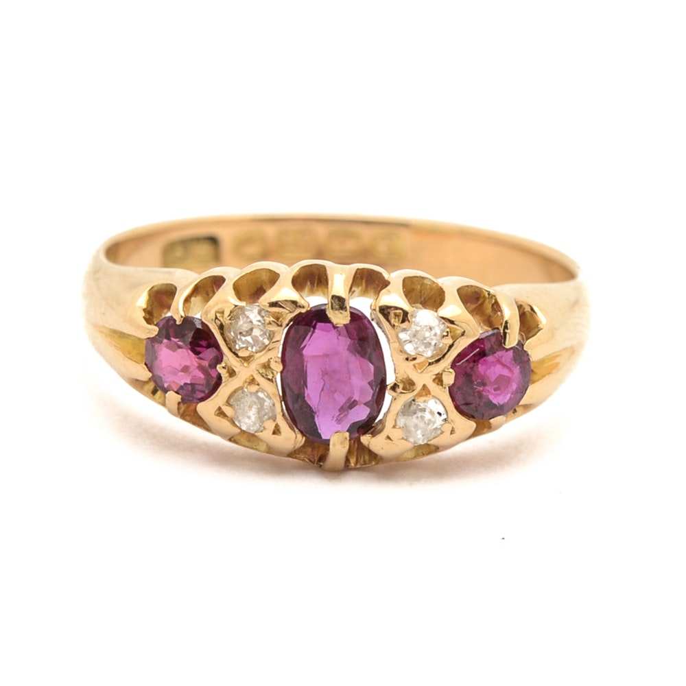 Early 1900s 18K Yellow Gold Ruby and Diamond Ring