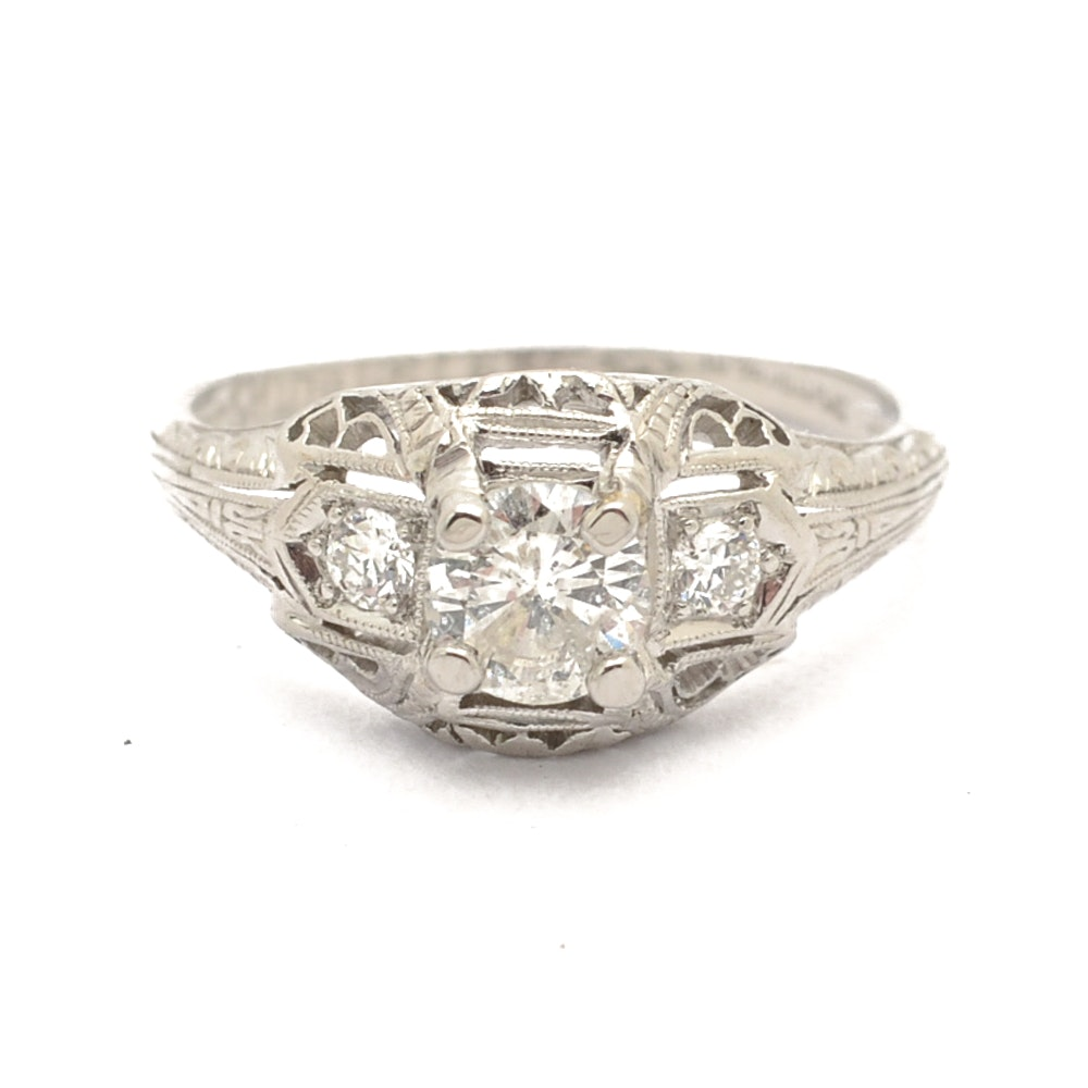 Platinum Diamond Ring with Art Deco Transitional Styling