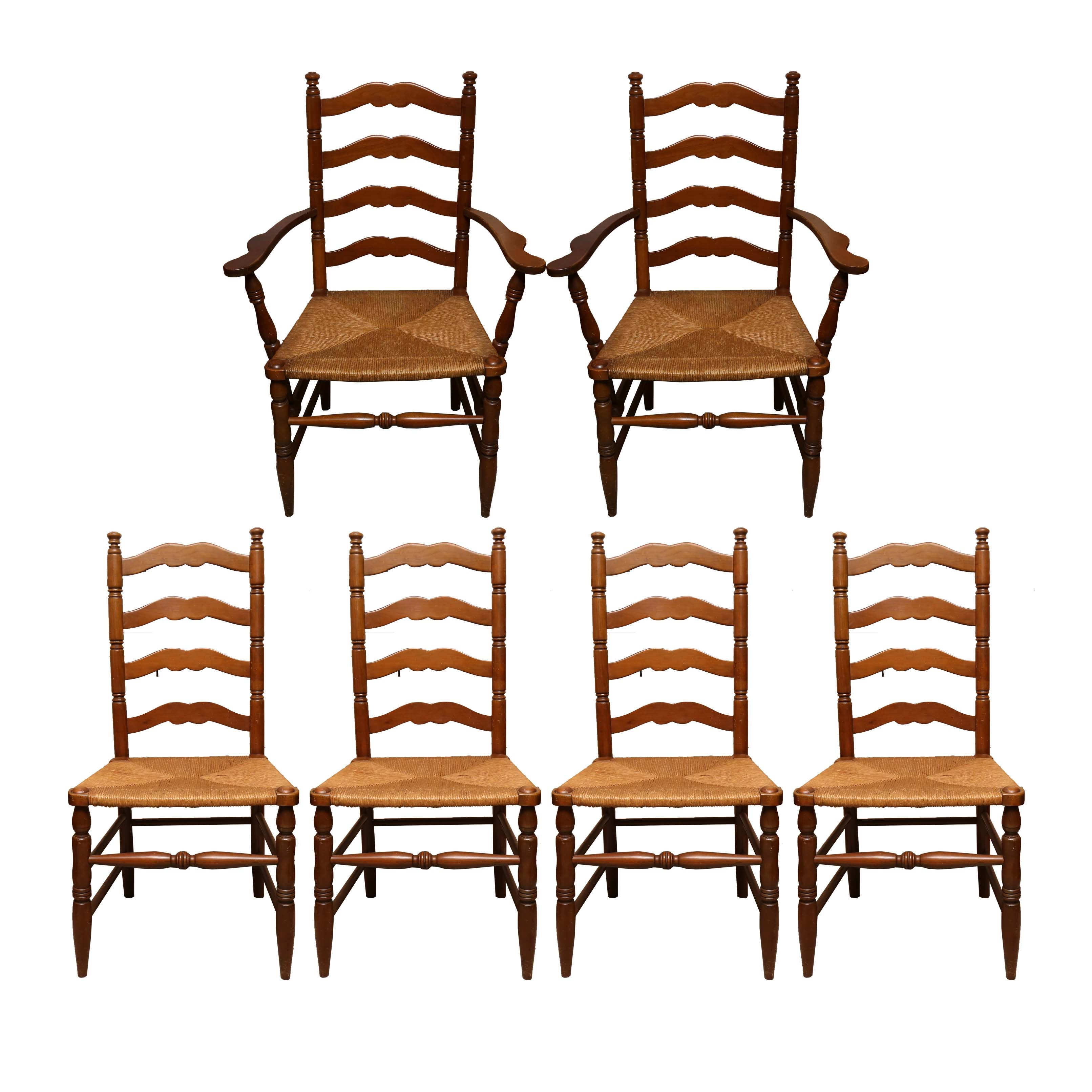 Traditional Ladder Back Dining Chairs with Rush Seats