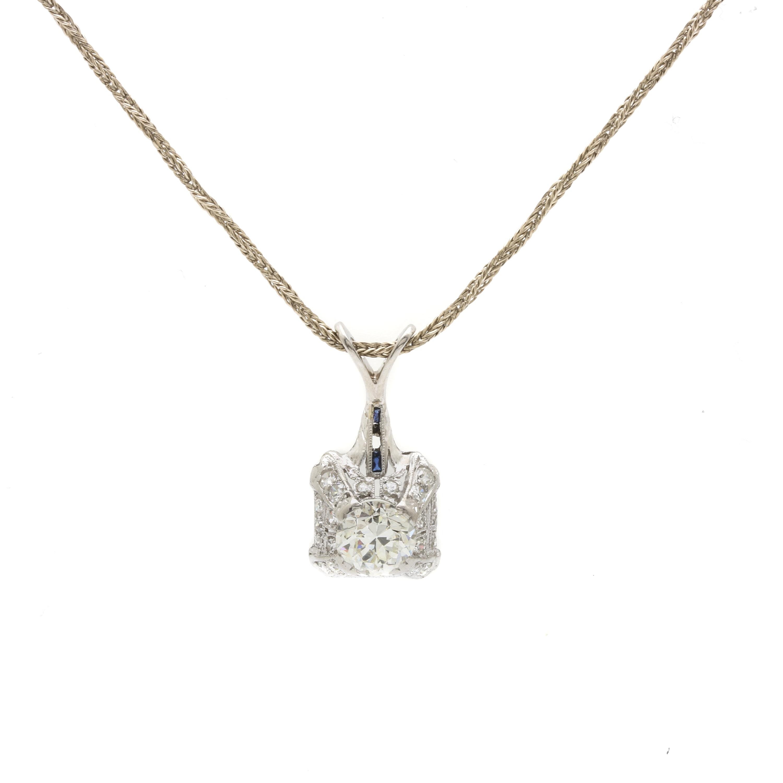 Platinum 1.33 CTW Diamond Pendant on a 14K Yellow Gold Chain