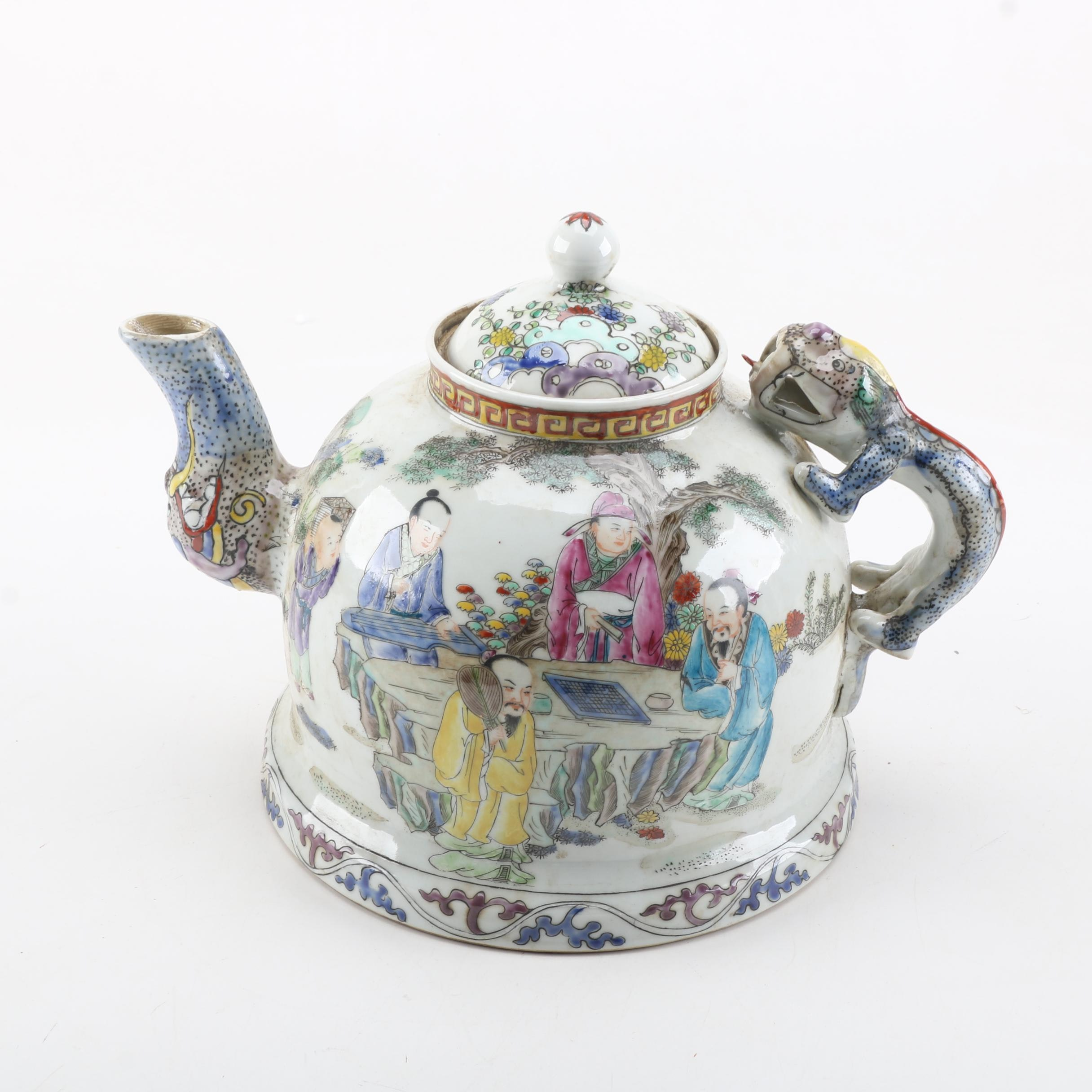Fine Chinese Hand-Painted Figural Ceramic Teapot