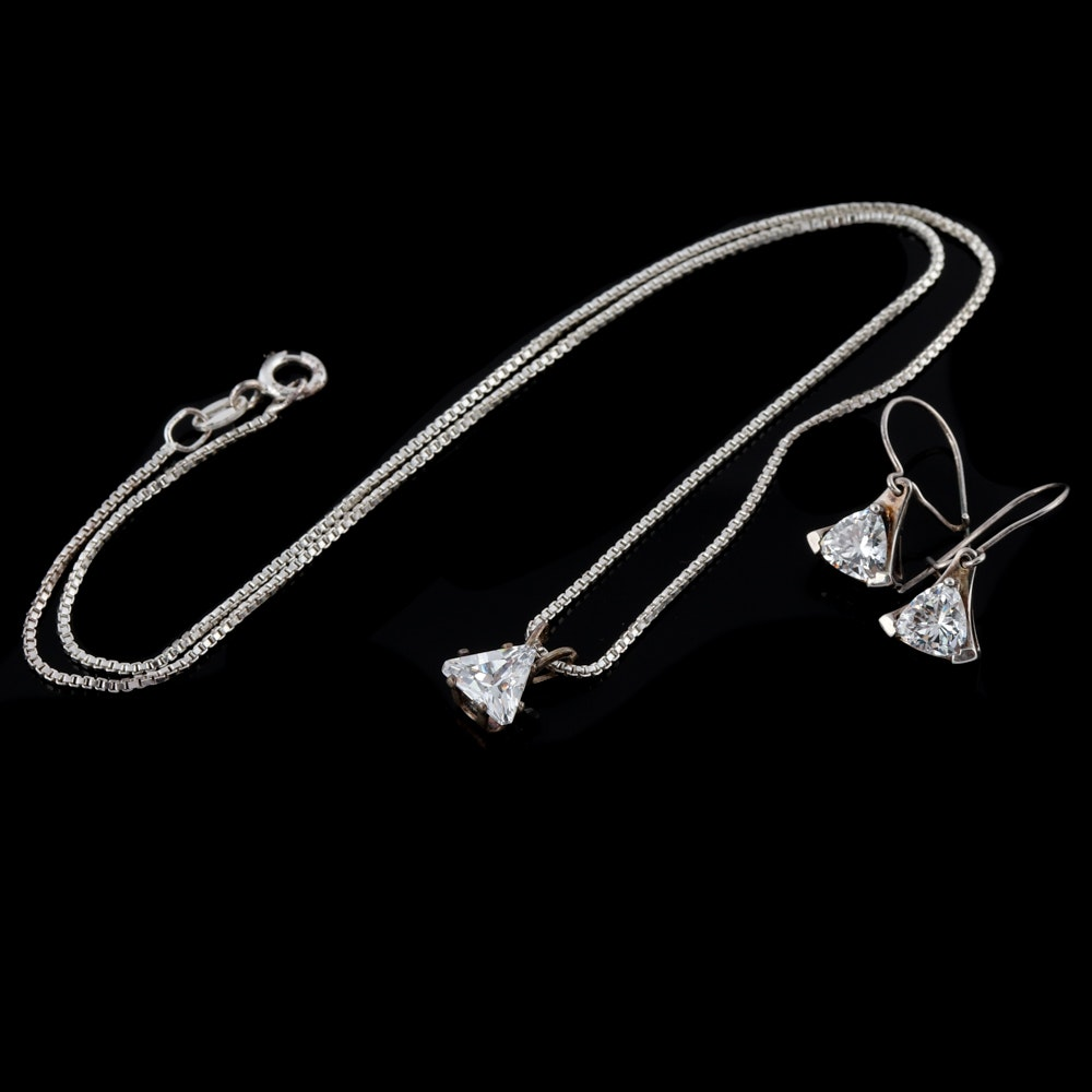 Sterling Silver Cubic Zirconia Necklace and Earrings