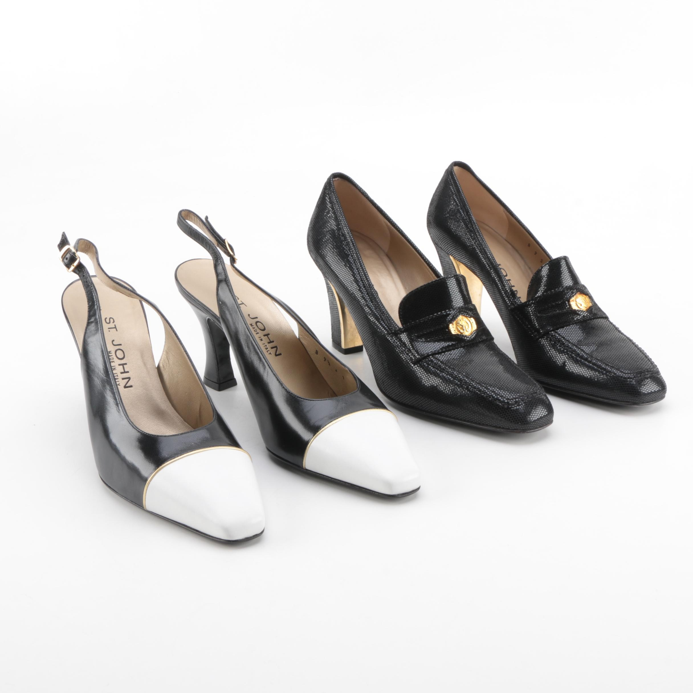 St. John Leather Slingbacks and Heeled Loafers
