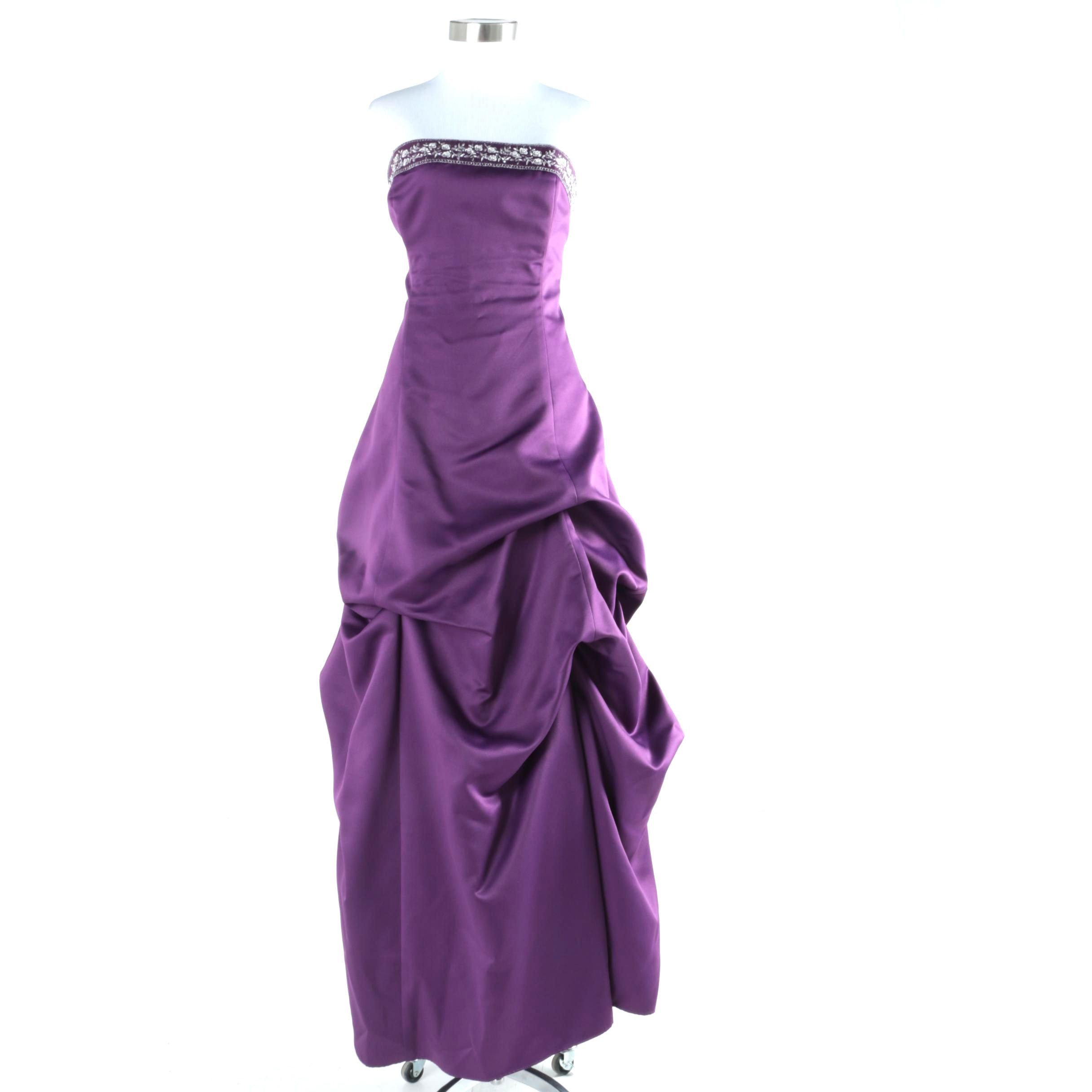 Women's Amethyst Strapless Formal Gown