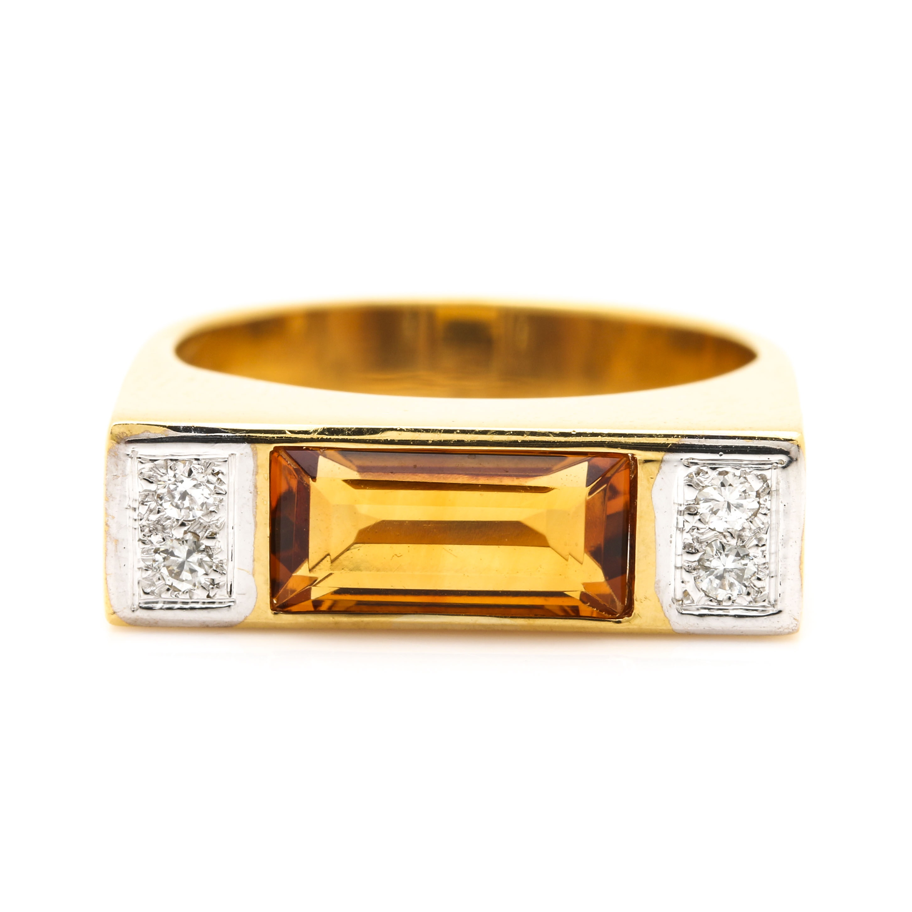 Ester Gallant 14K Yellow Gold Citrine and Diamond Ring With White Gold Accents