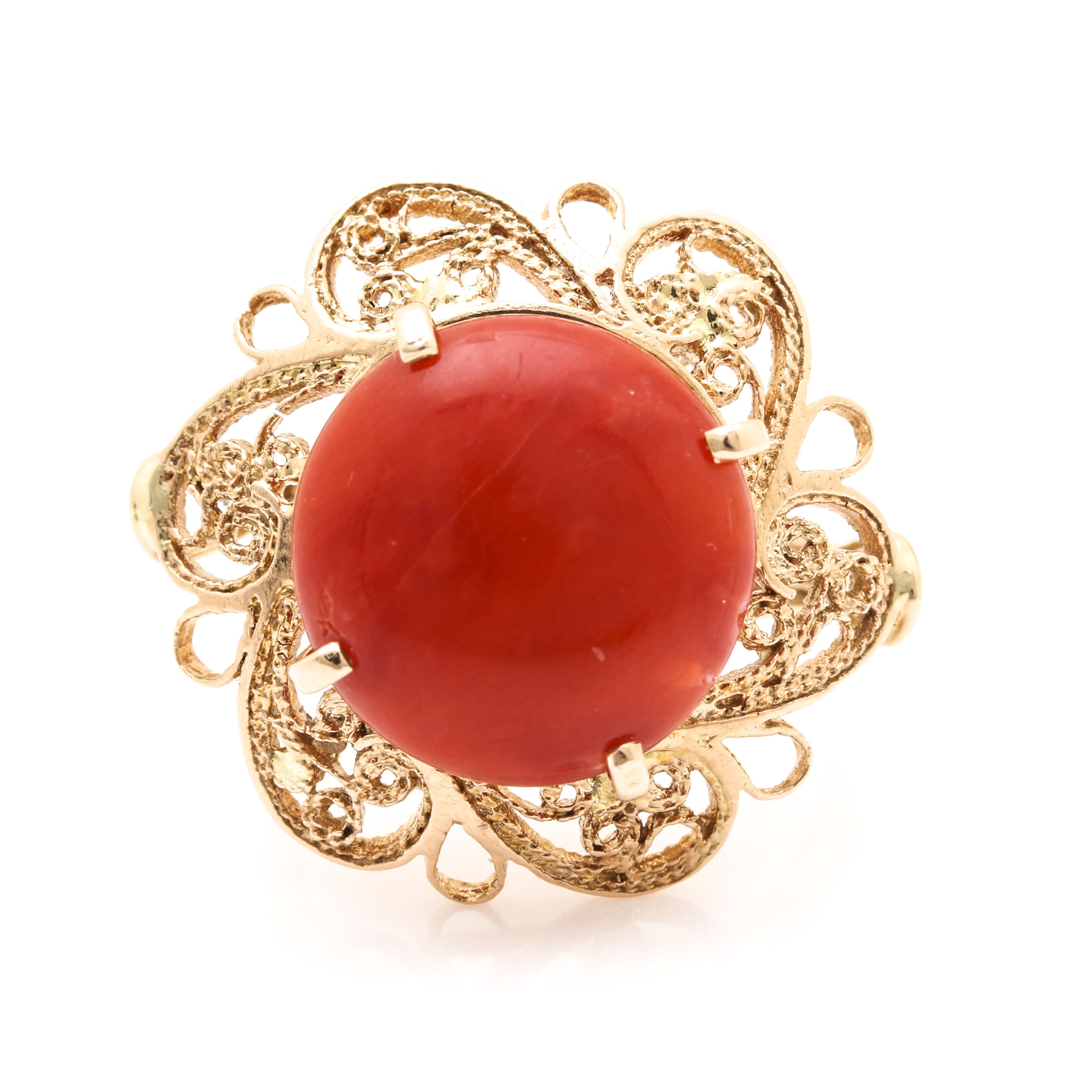14K Yellow Gold Coral Floral Ring