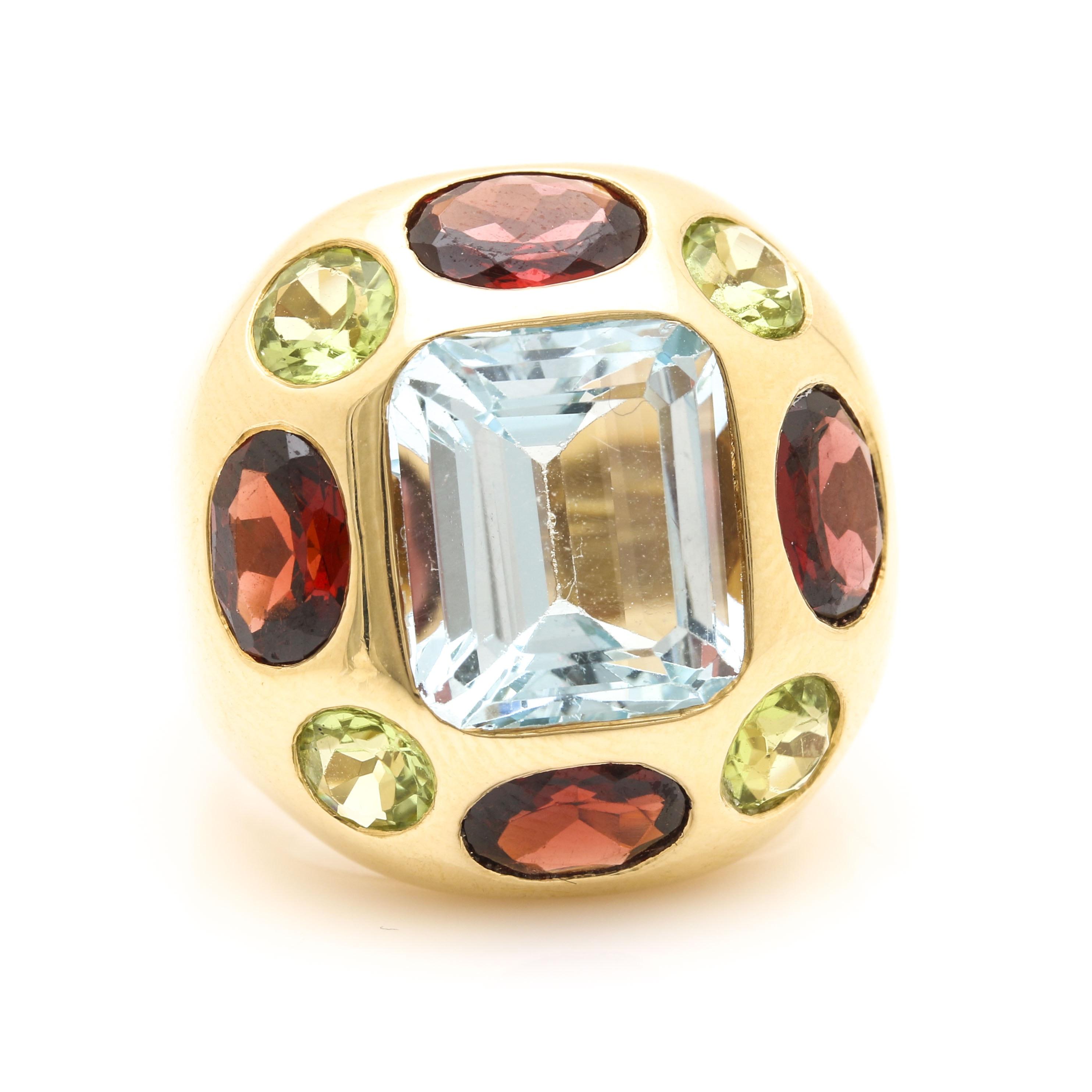 18K Yellow Gold Gemstone Statement Ring