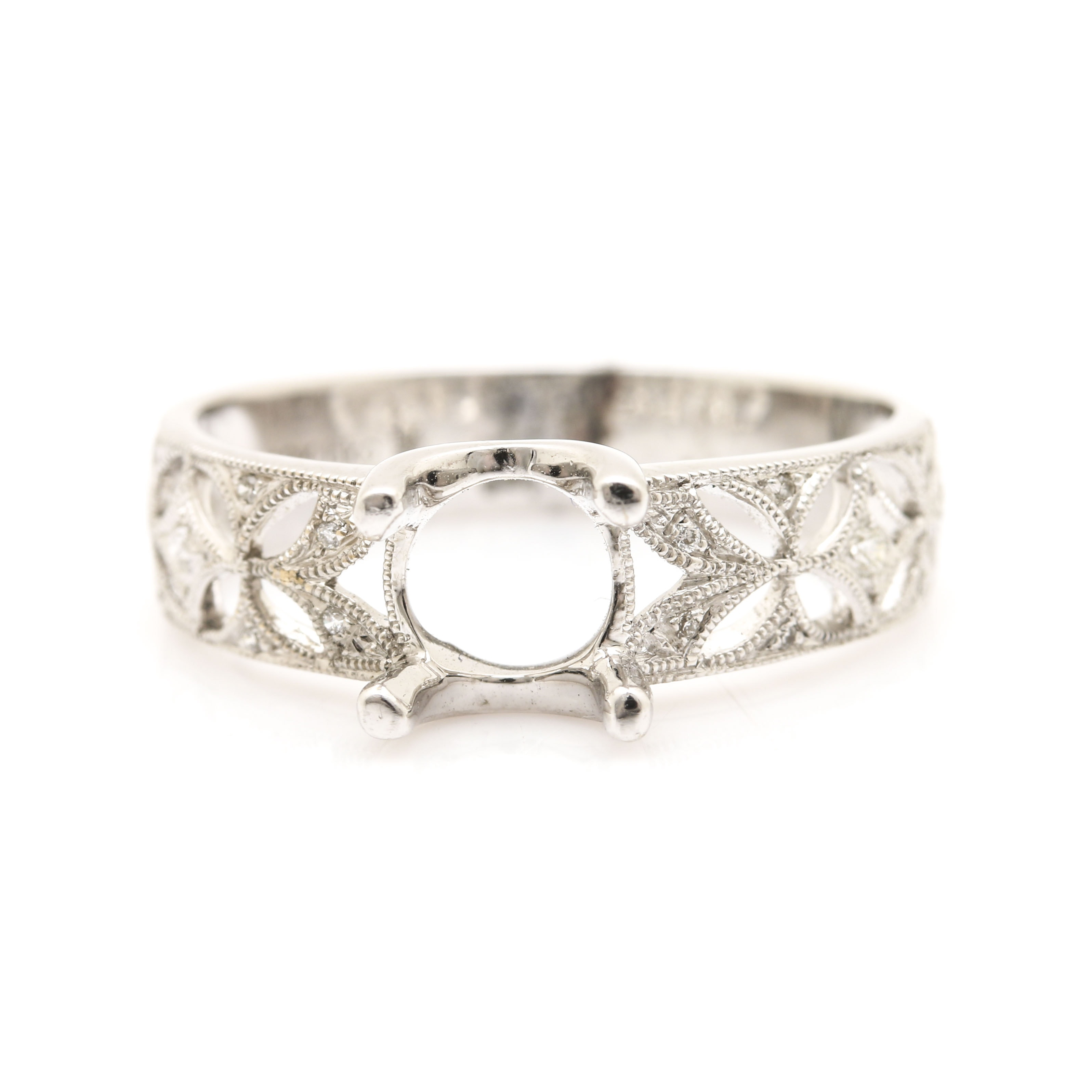Beverley K 18K White Gold Diamond Semi Mount Ring