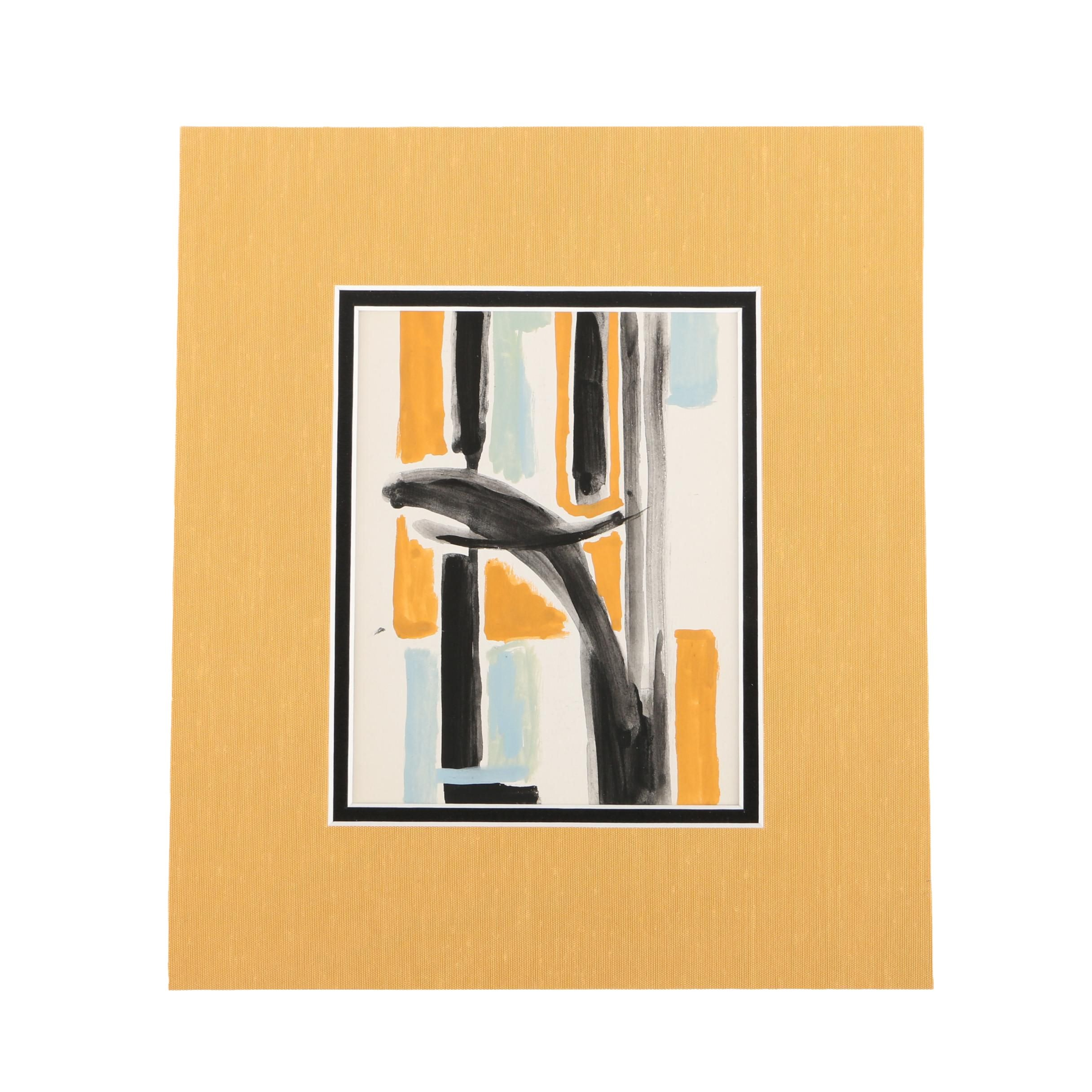 Phillip Callahan Gouache Painting on Paper of Abstract Composition