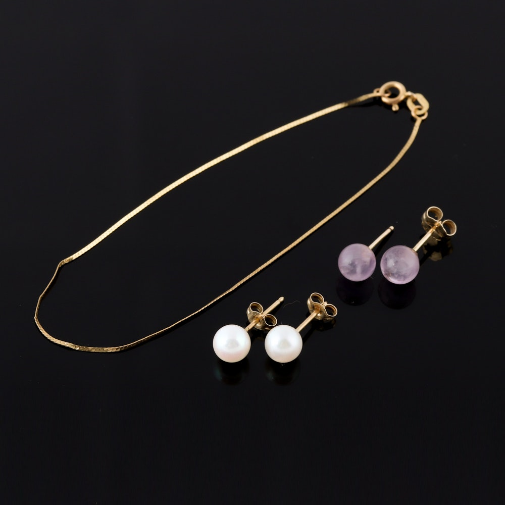 14K Yellow Gold Bracelet with Amethyst and Cultured Pearl Stud Earrings