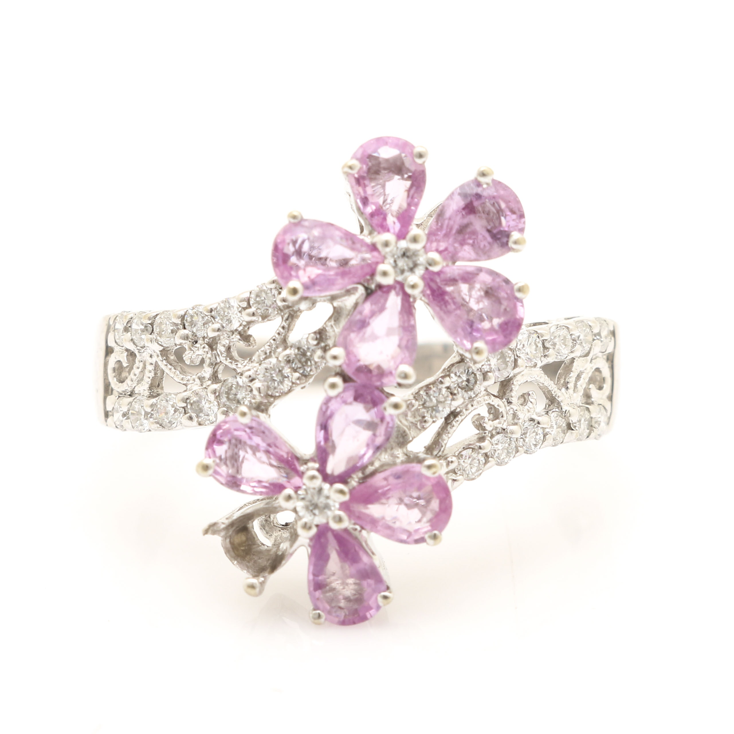 14K White Gold Pink Sapphire and Diamond Floral Bypass Ring