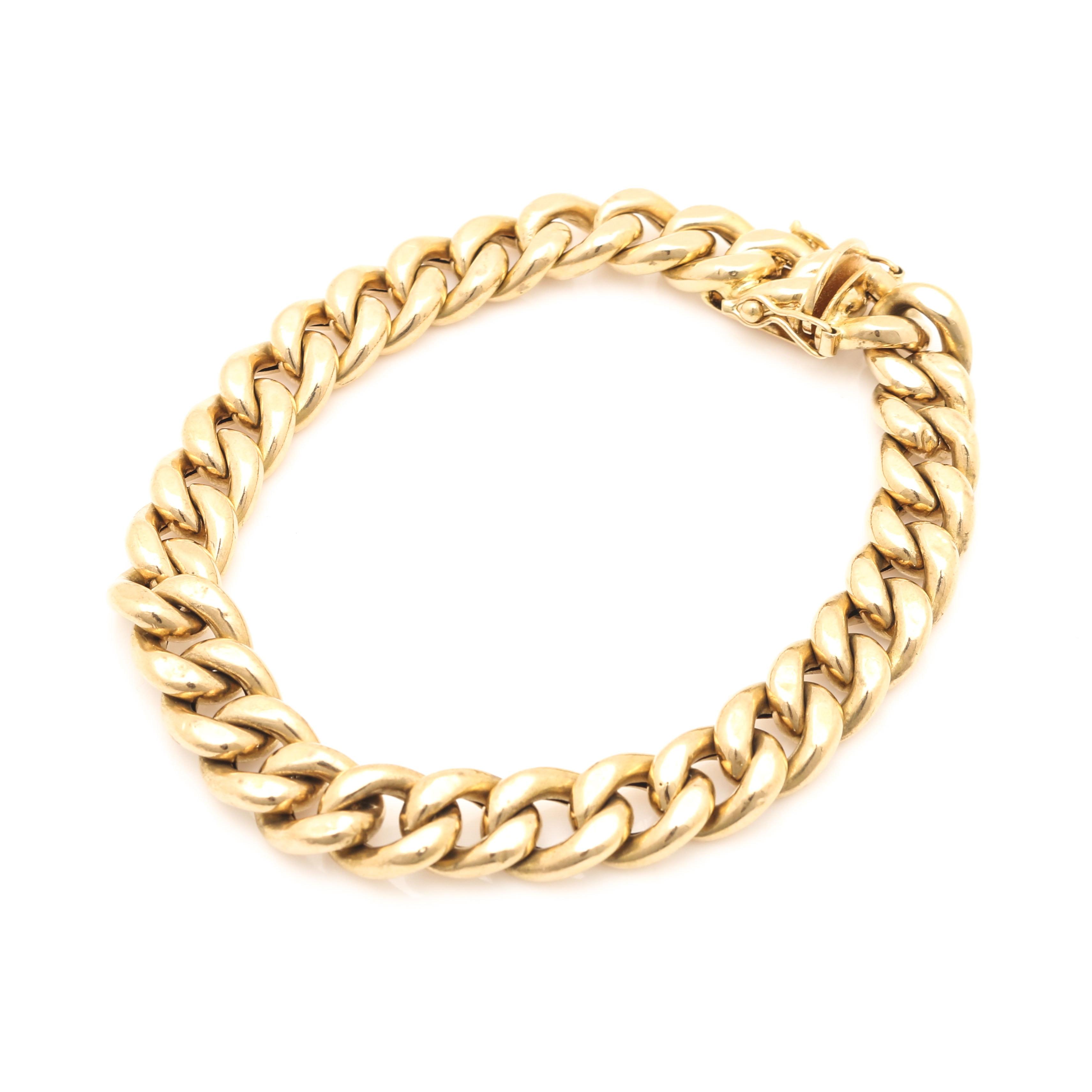 18K Yellow Gold Curb Chain Bracelet