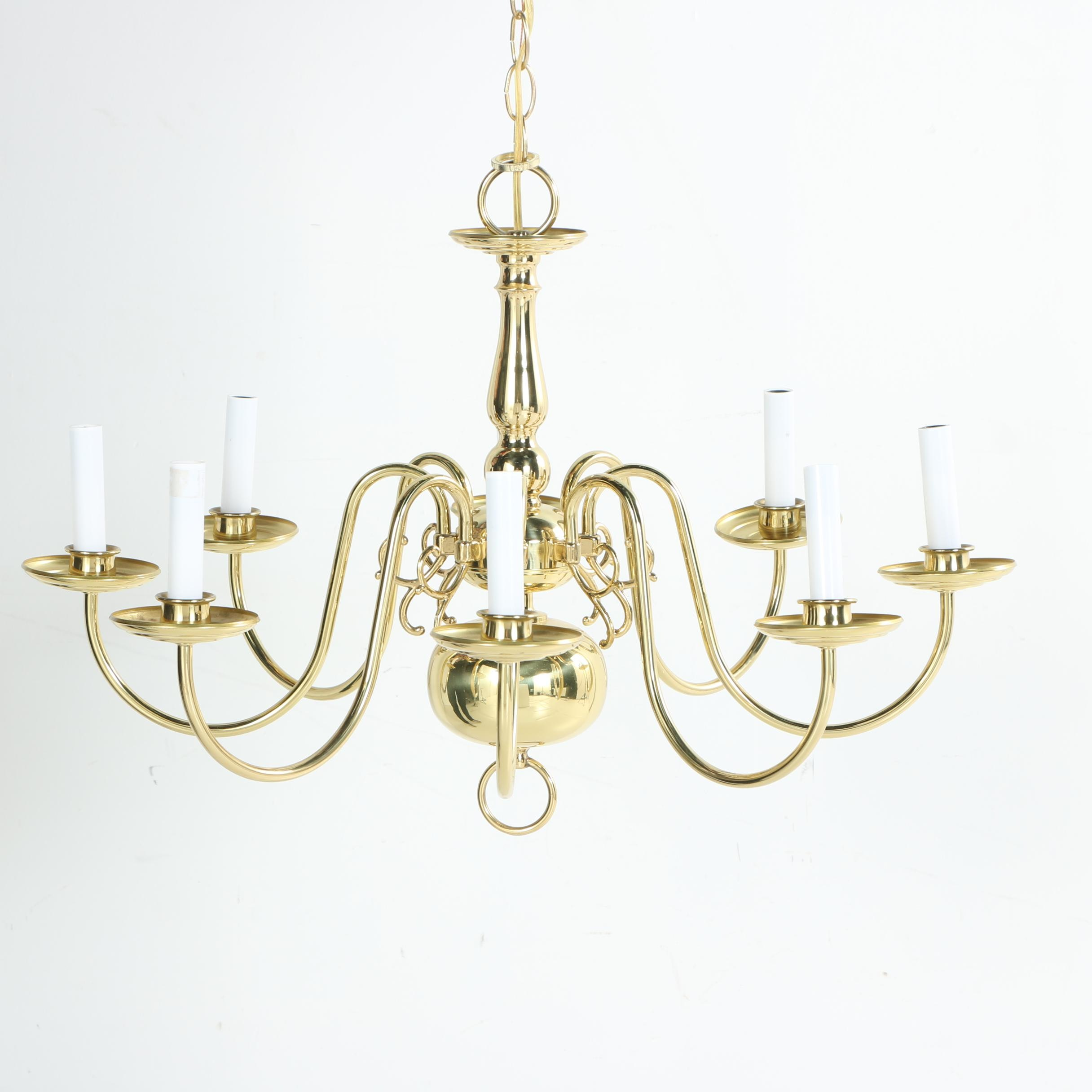Colonial Style Brass Tone Chandelier