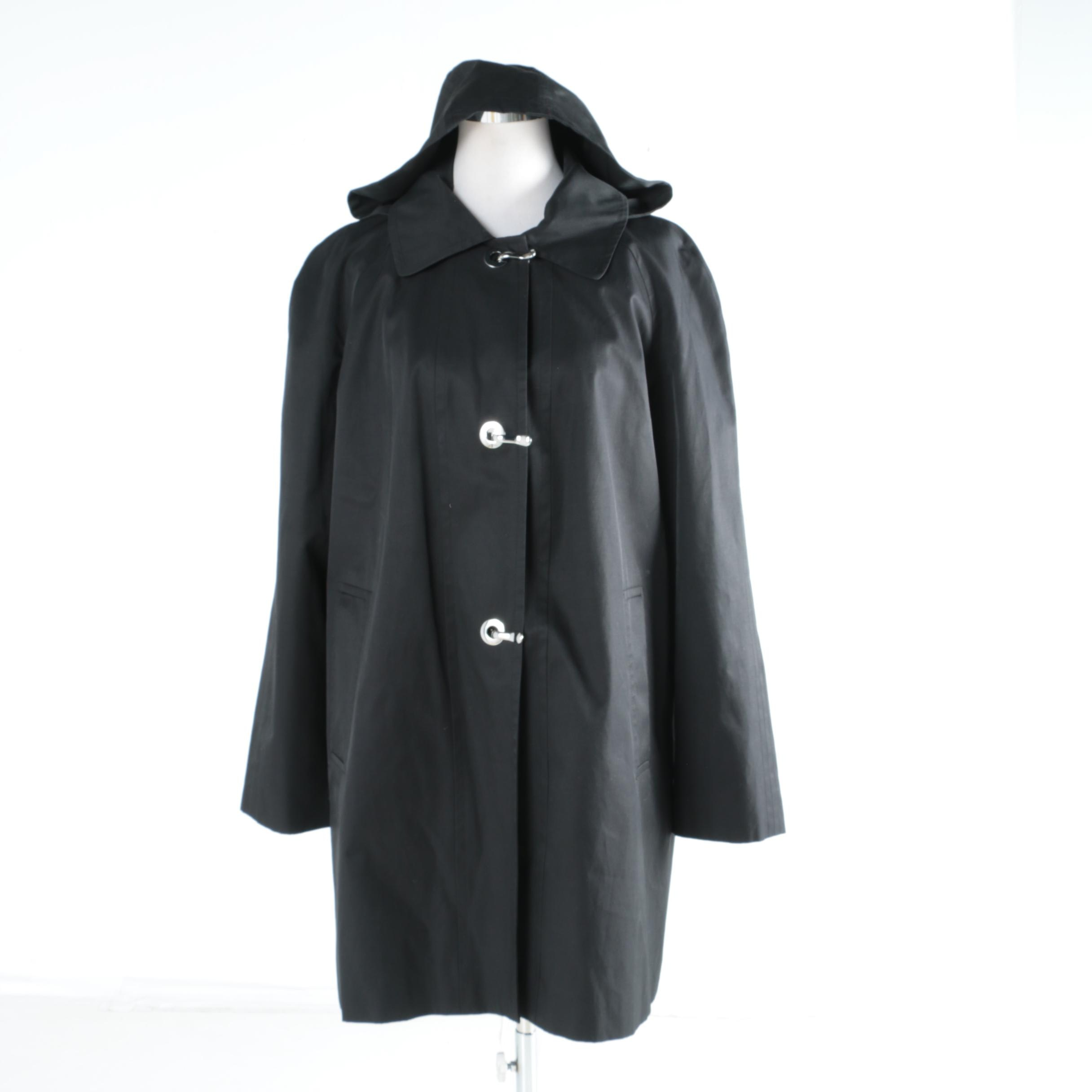 Women's London Fog Black Raincoat