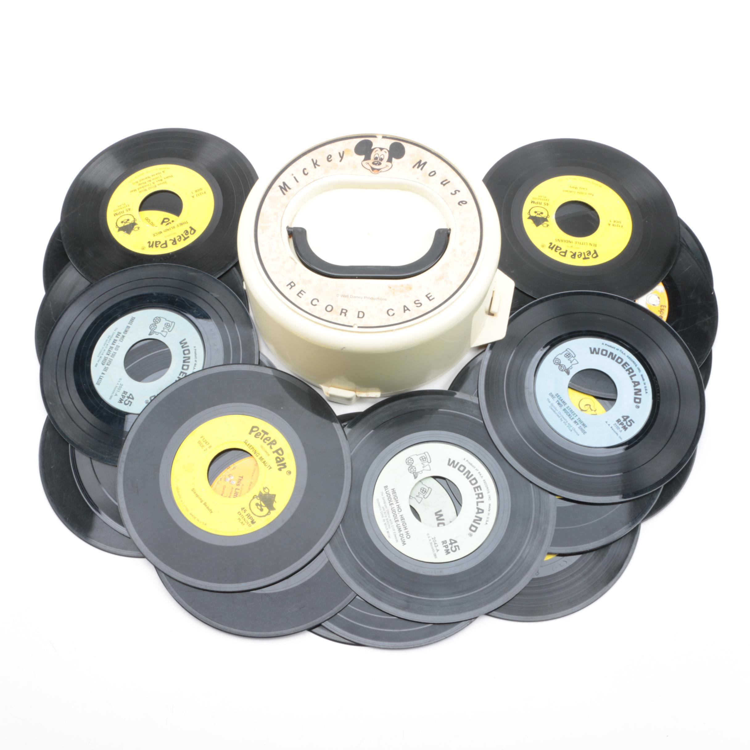 Vintage Children's 45 RPM Singles and Plastic Mickey Mouse Case