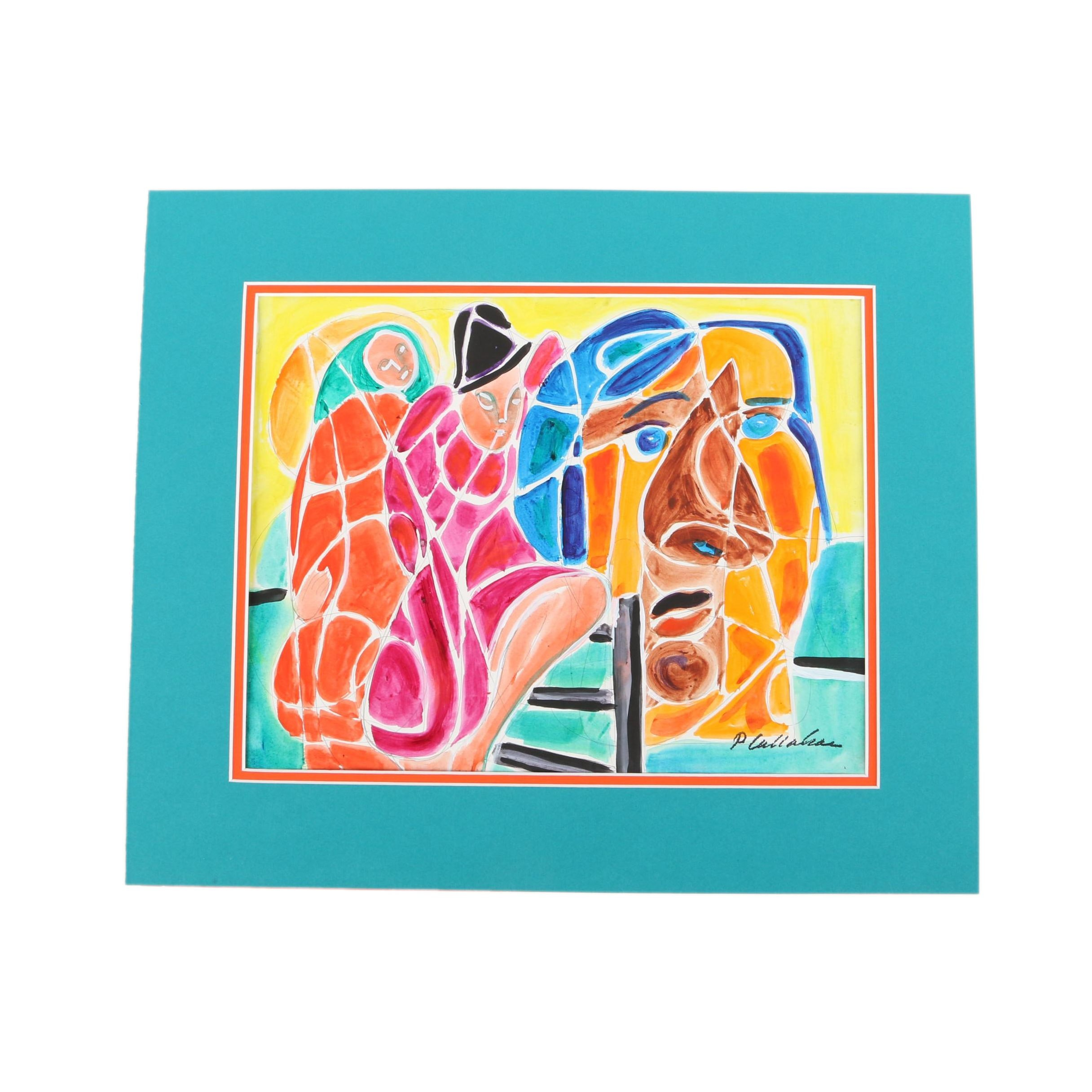 Phillip Callahan Watercolor Painting on Paper of Abstract Figures