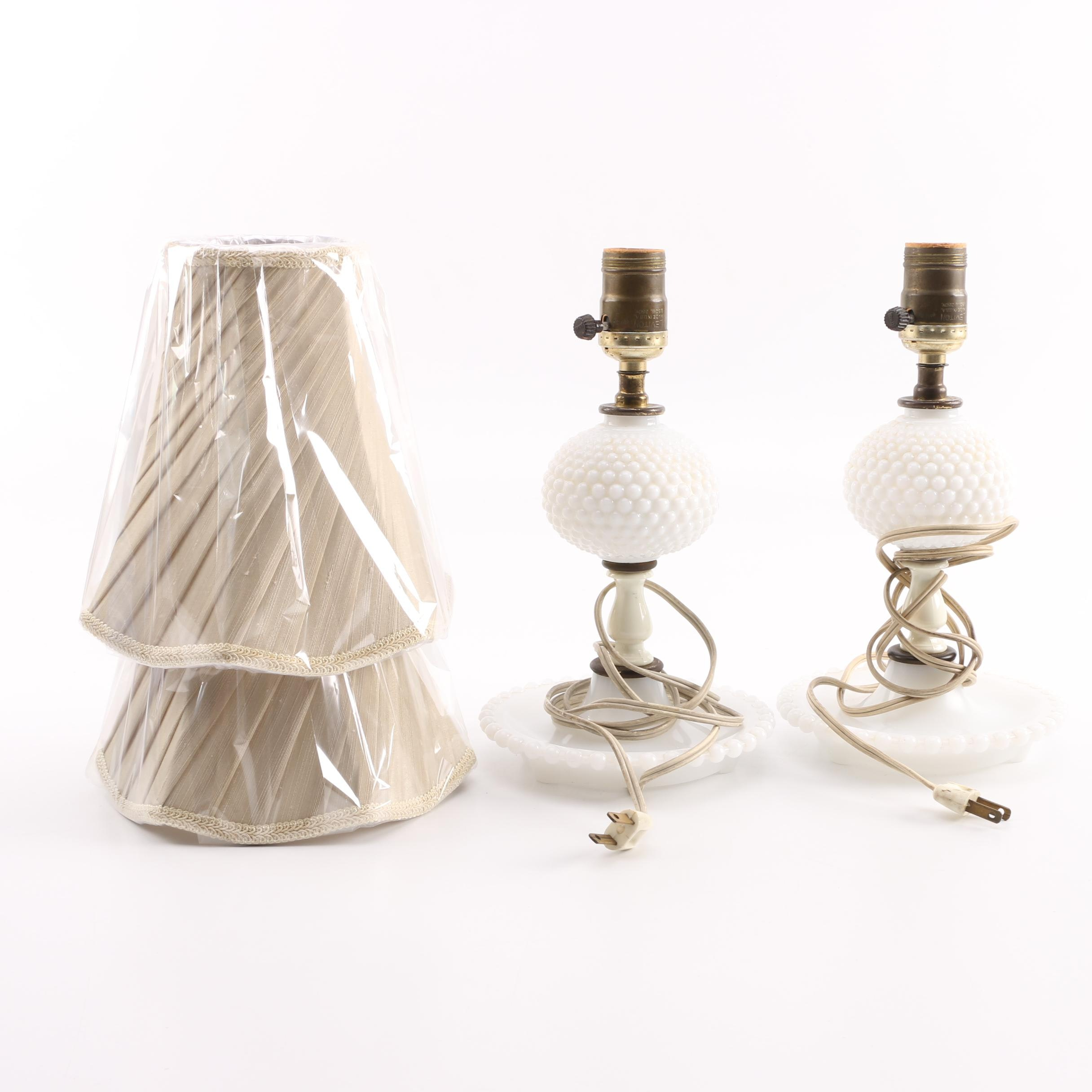 Vintage Hobnail Milk Glass Lamps with New Shades